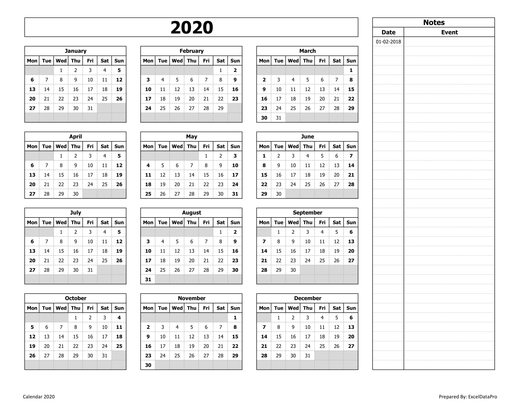 Download 2020 Yearly Calendar (Mon Start) With Notes Excel Template