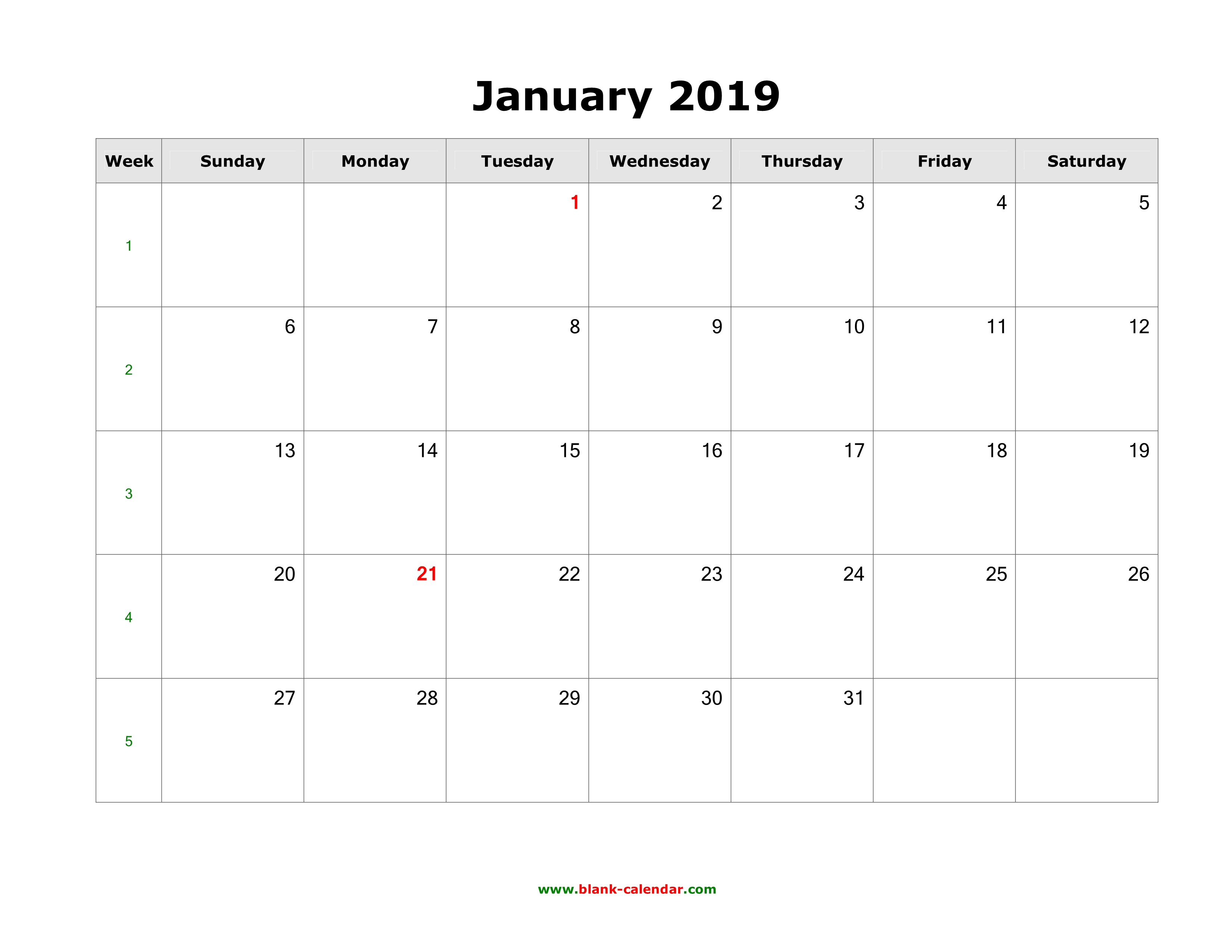 Download Blank Calendar 2019 (12 Pages, One Month Per Page, Horizontal)
