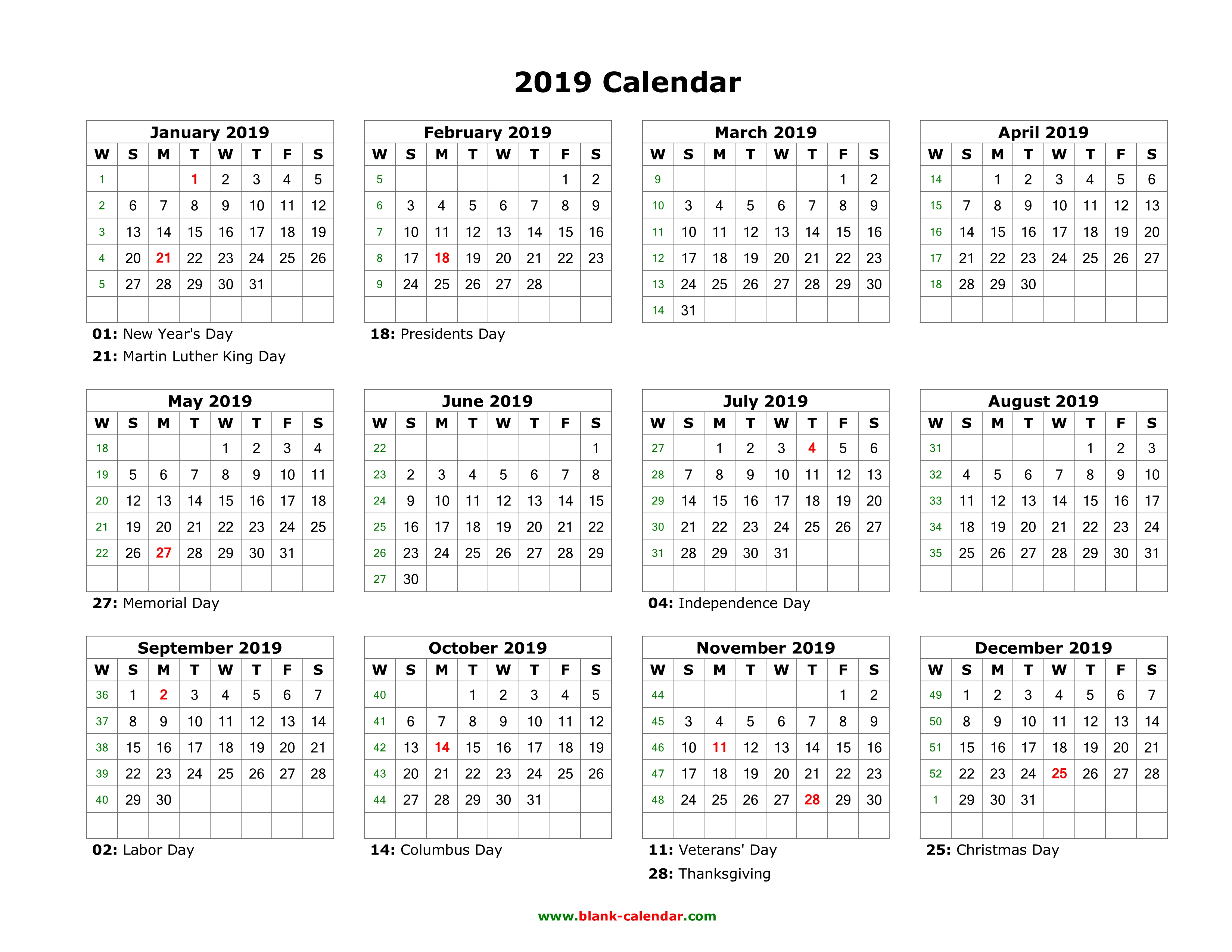 Download Blank Calendar 2019 With Us Holidays (12 Months On One Page