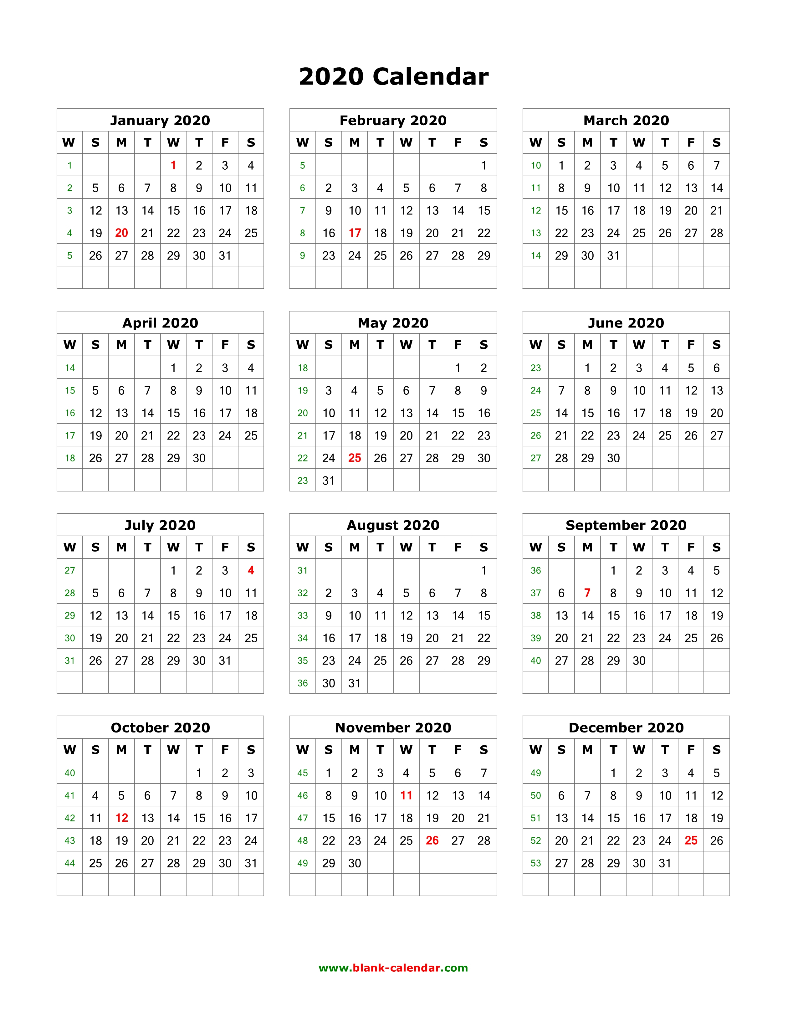 Download Blank Calendar 2020 (12 Months On One Page, Vertical)