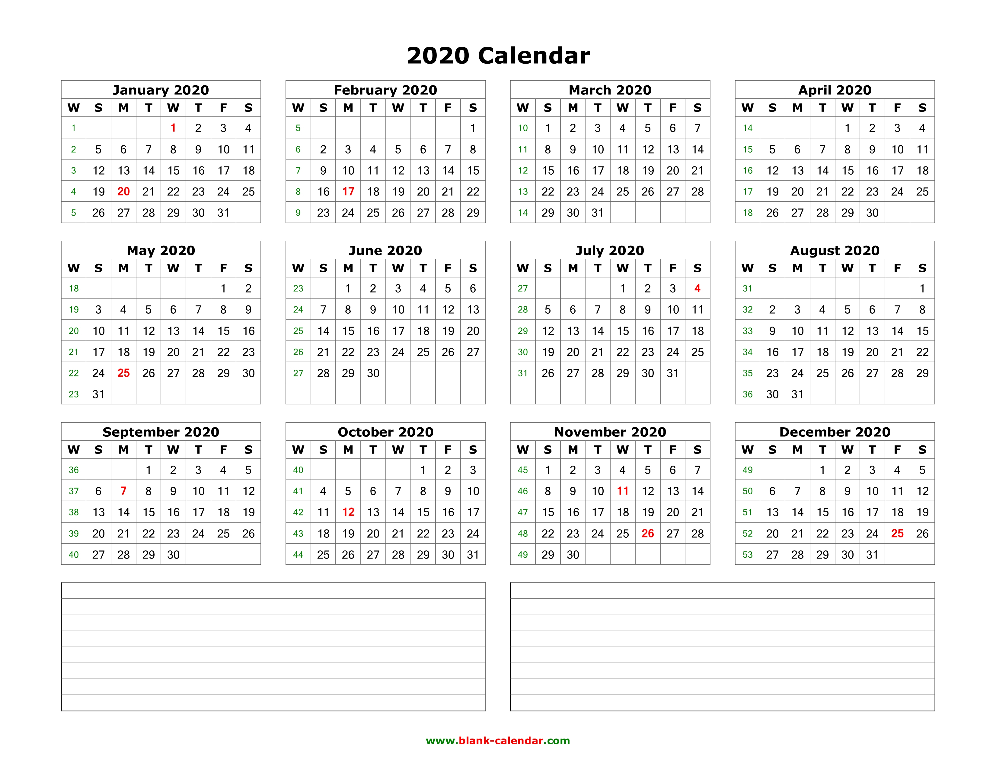 Download Blank Calendar 2020 With Space For Notes (12 Months On One