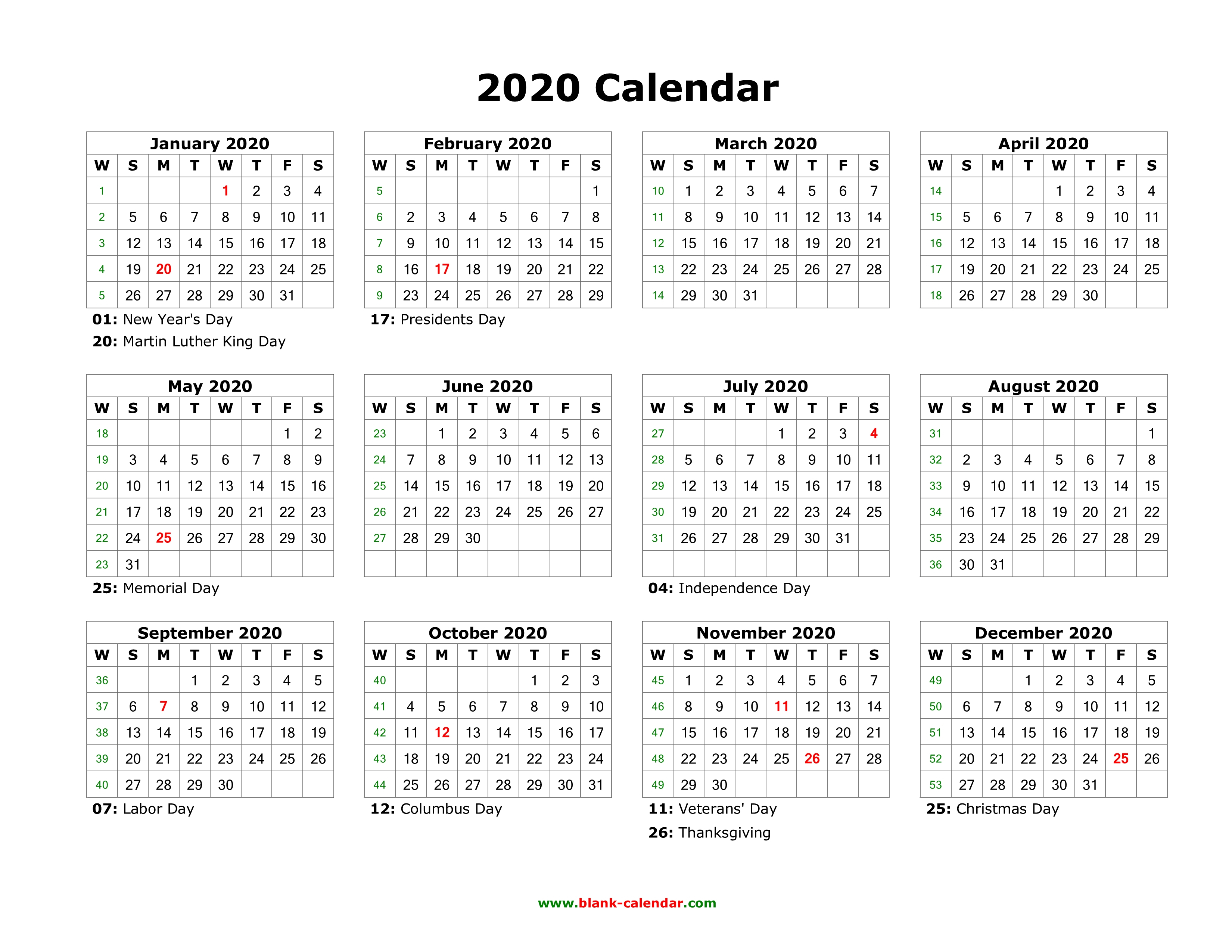 Download Blank Calendar 2020 With Us Holidays (12 Months On One Page