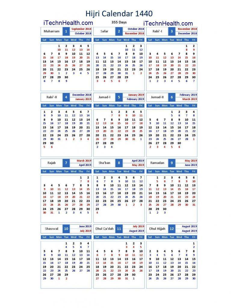 Download Calendar 2019 And Islamic Calendar 2019 / 1440 Islamic