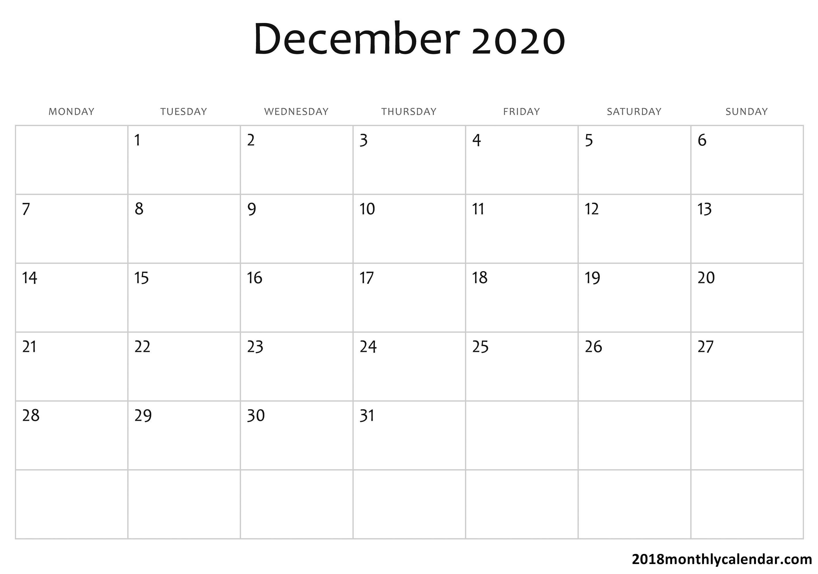 Download December 2020 Calendar – Blank & Editable