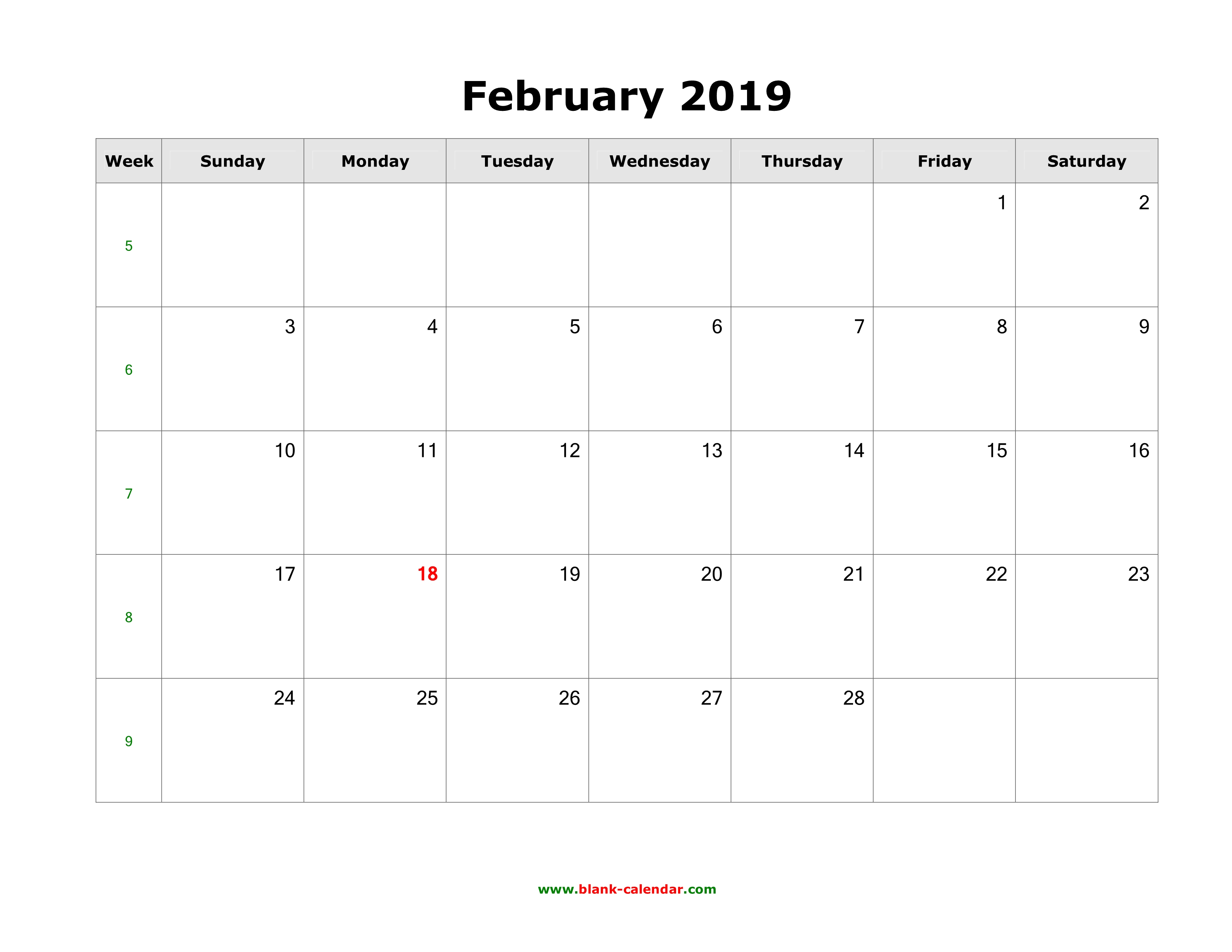 Download February 2019 Blank Calendar (Horizontal)