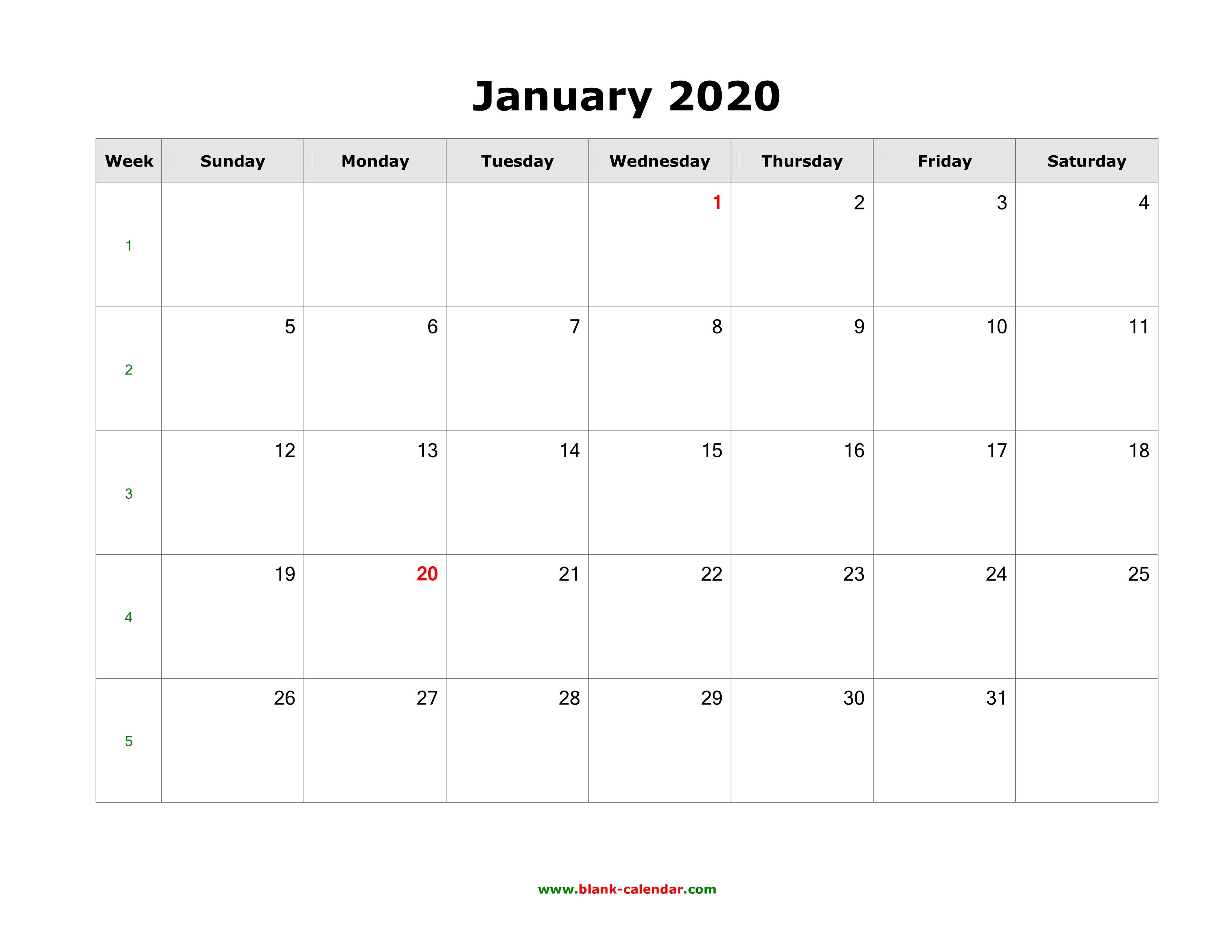 Download January 2020 Blank Calendar (Horizontal)