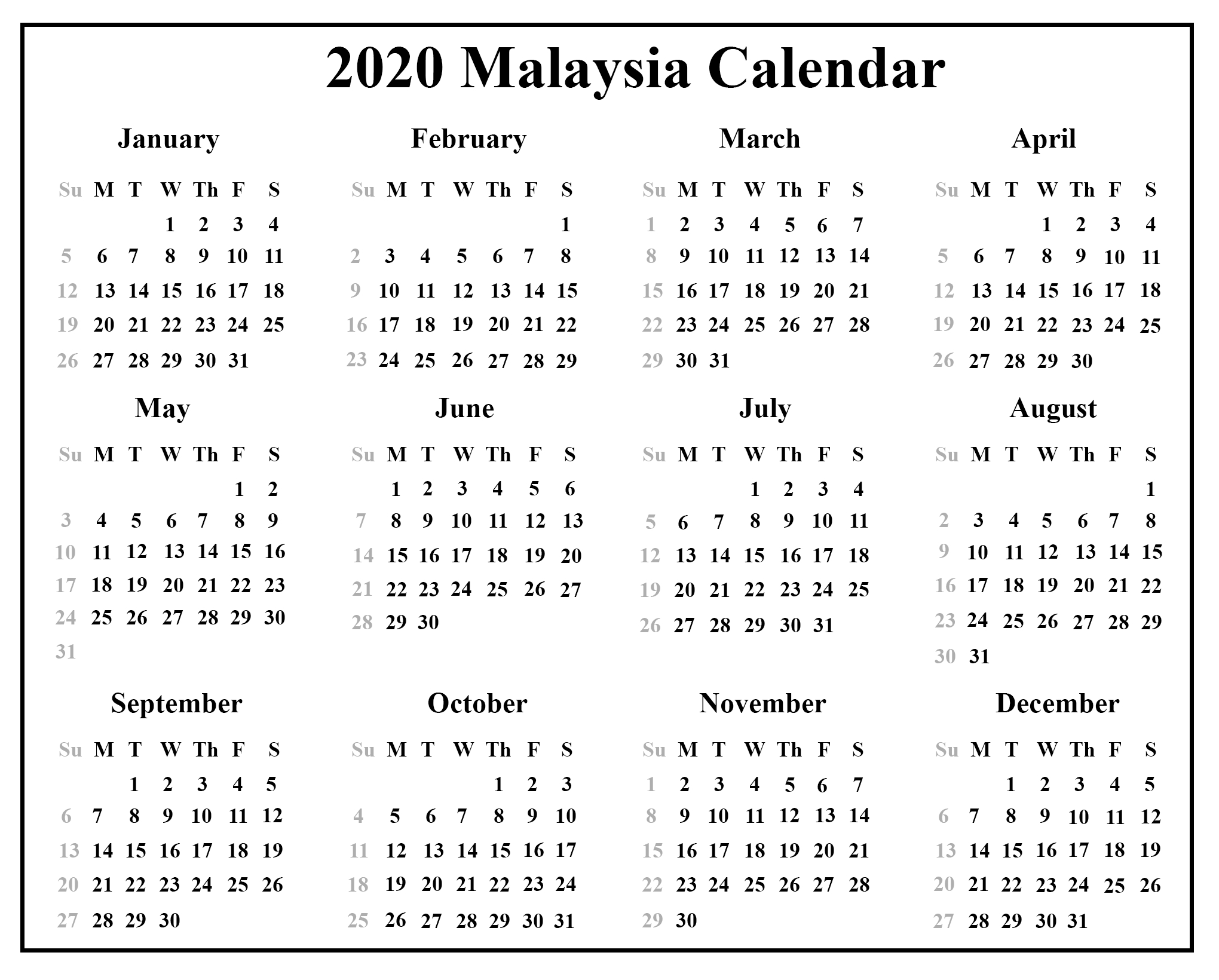 Download Malaysia Calendar 2020 {Pdf & Excel & Word}