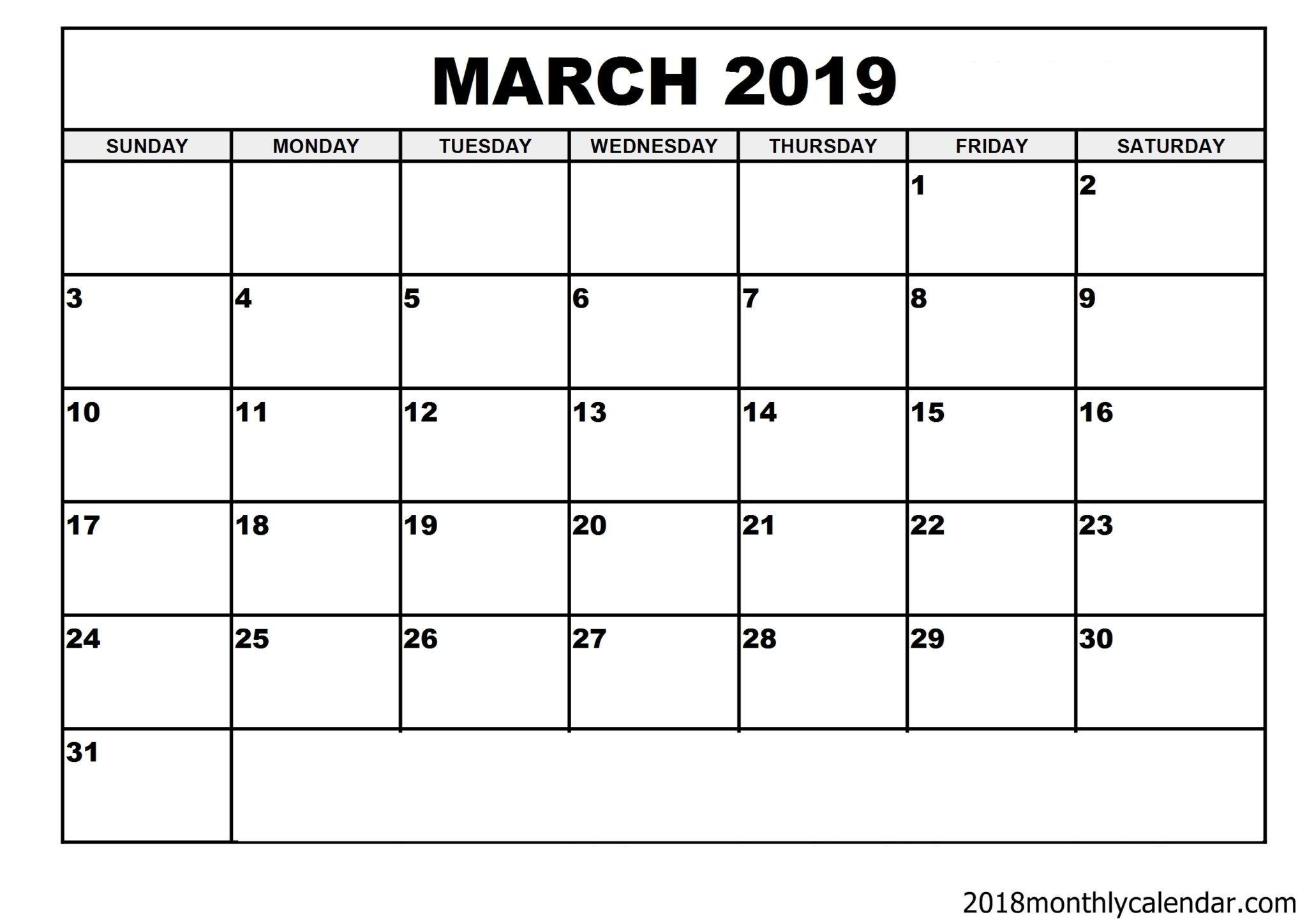 Download March 2019 Calendar – Blank Template - Editable Calendar