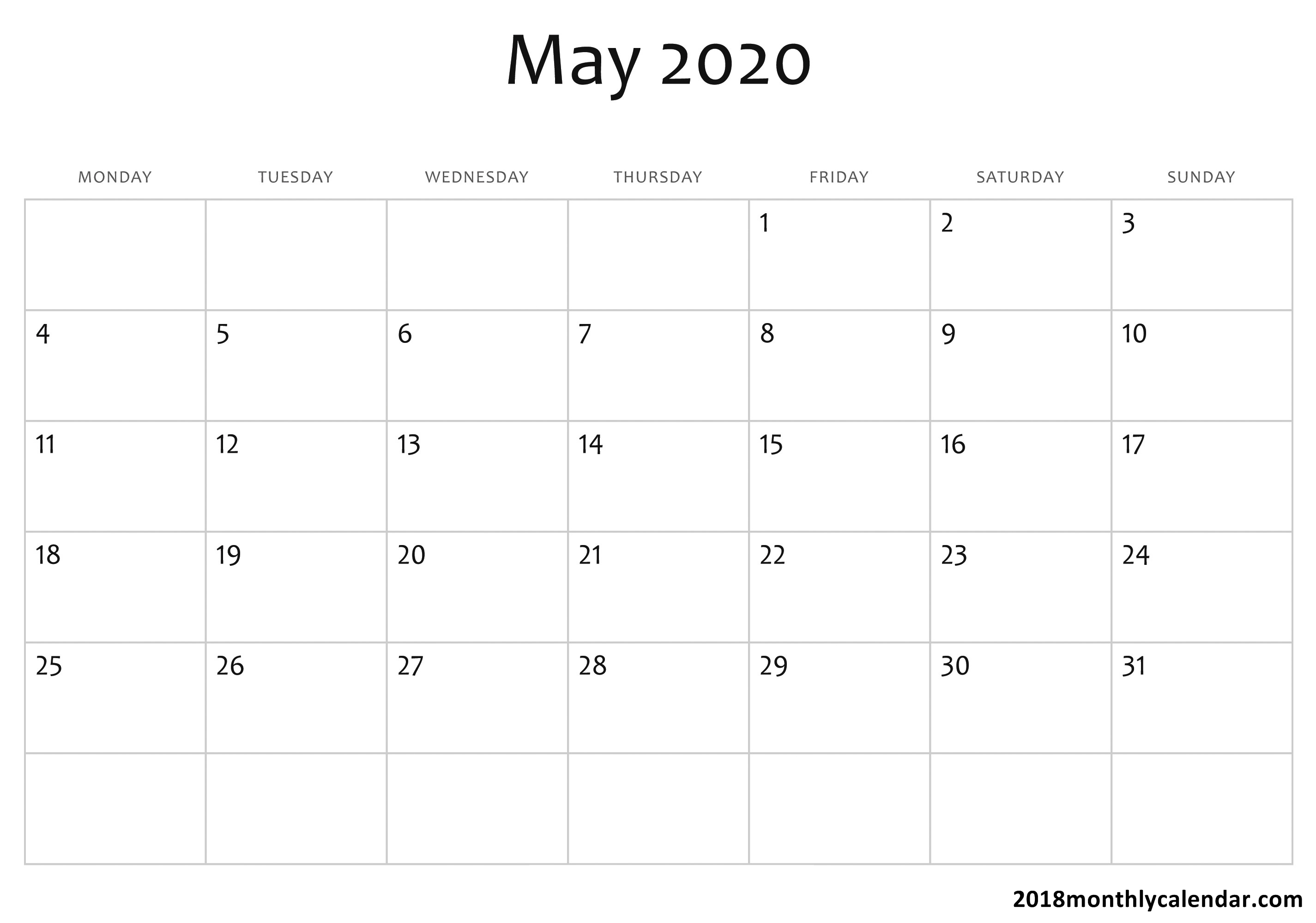 Download May 2020 Calendar – Blank & Editable