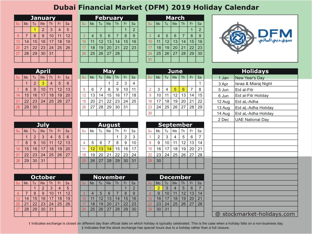 Dubai Financial Market 2019 / 2020 Holidays : Dfm Holidays 2019 / 2020