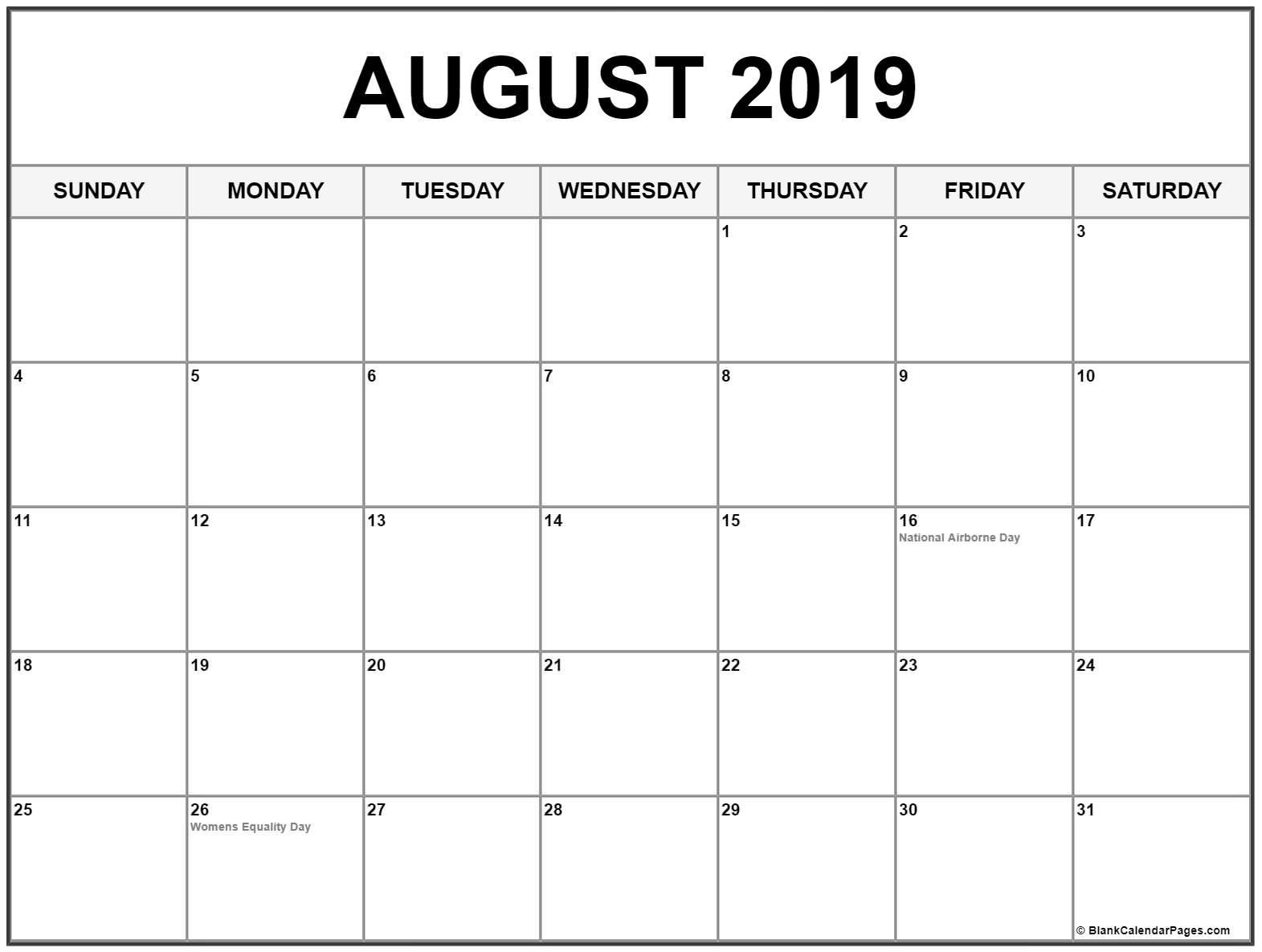 ✅ Blank August 2019 Calendar Printable Free Download