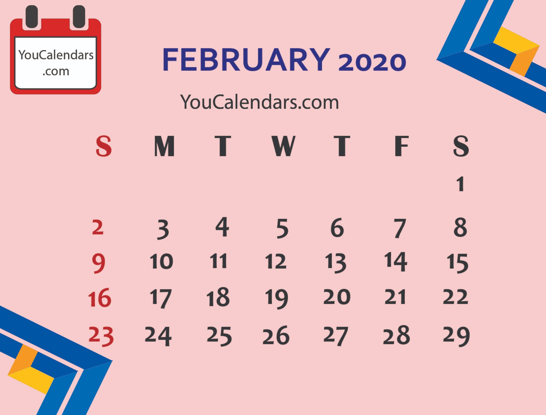 ✅Free February 2020 Calendar Printable Template - You Calendars