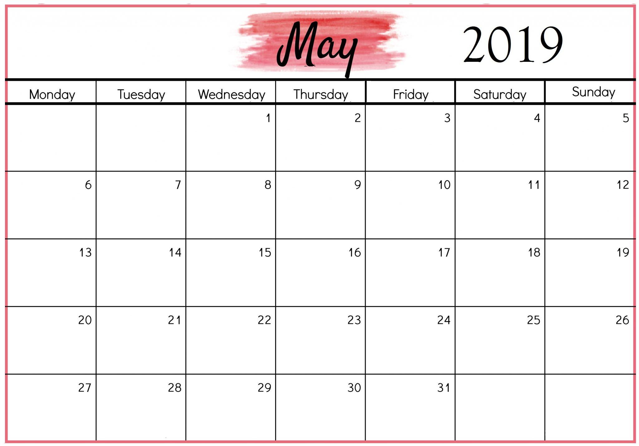 Editable May 2019 Calendar In Pdf, Word, Excel Printable Template