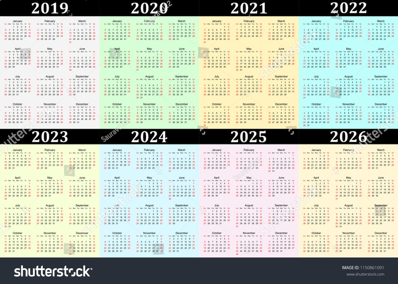 Eight Year Vector Calendar 2019 2020 Stock Vector (Royalty Free