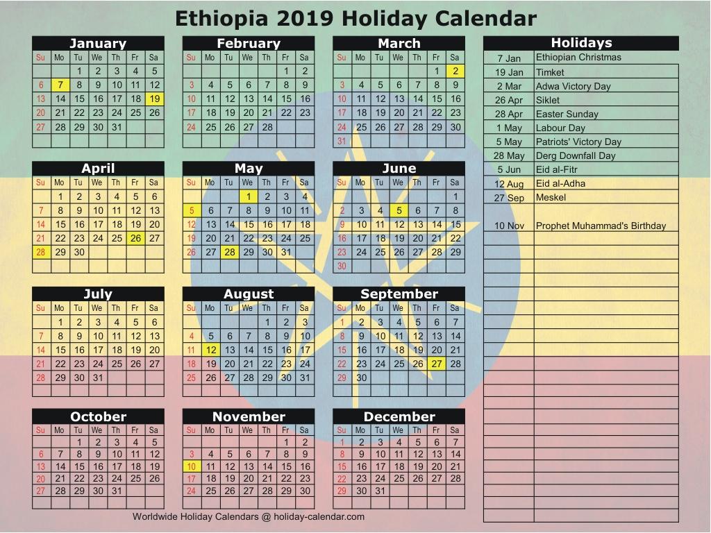 Ethiopia 2019 / 2020 Holiday Calendar
