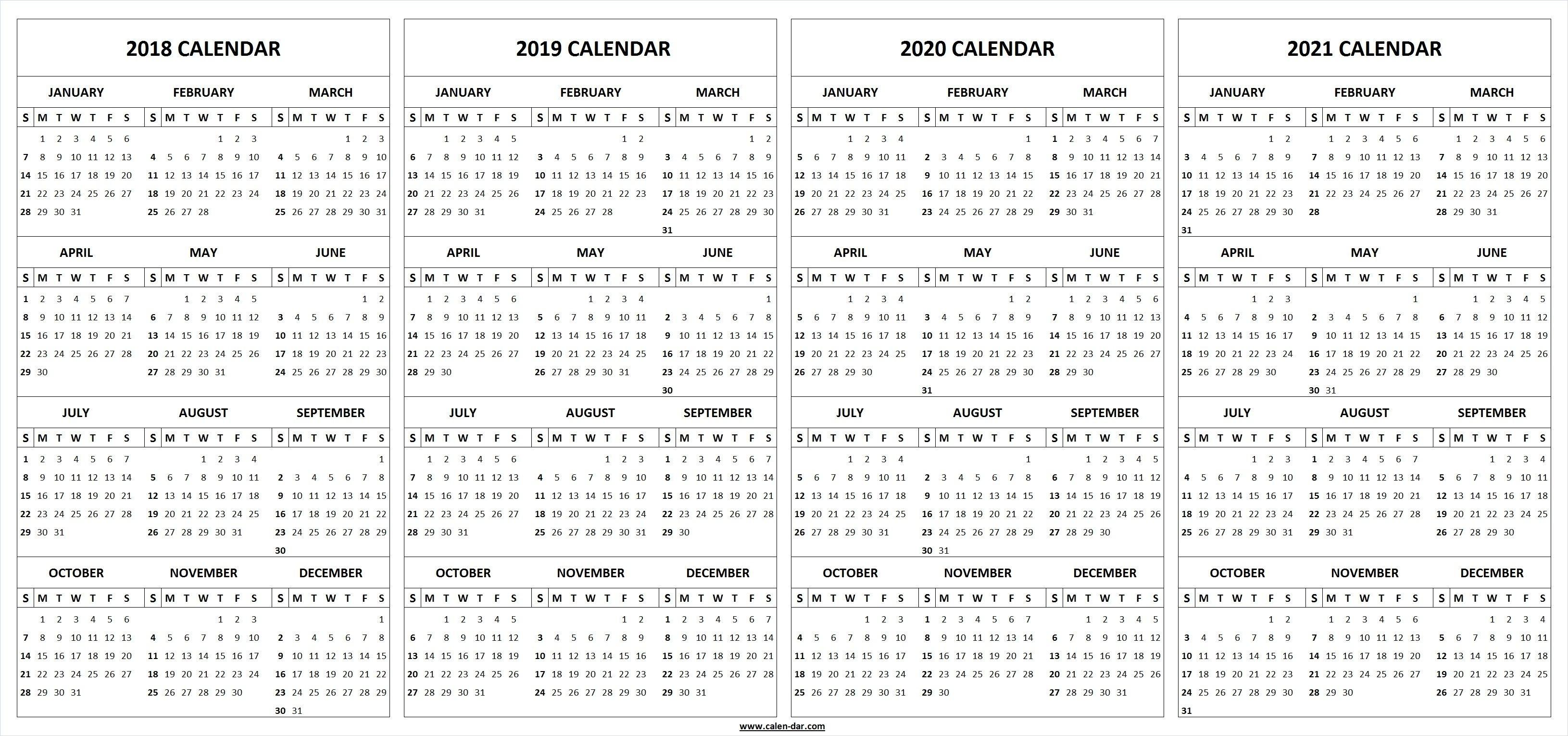 Extraordinary 3 Year Printable Calendar 2019 To 2020 • Printable