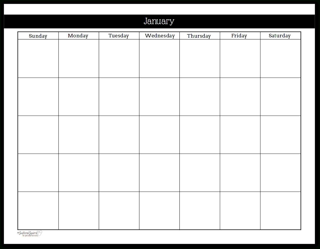 Extraordinary Blank Undated Calendar Template • Printable Blank
