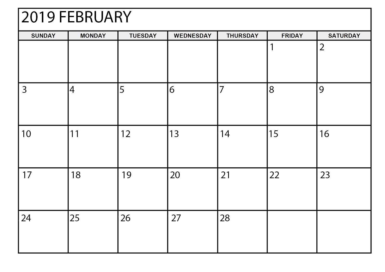 February 2019 Calendar Printable Large