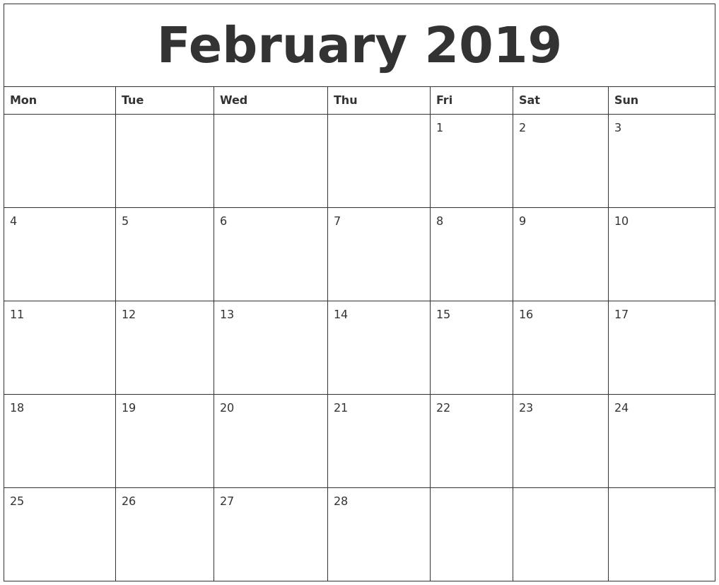 February 2019 Calendar To Print #february #february2019 Printable