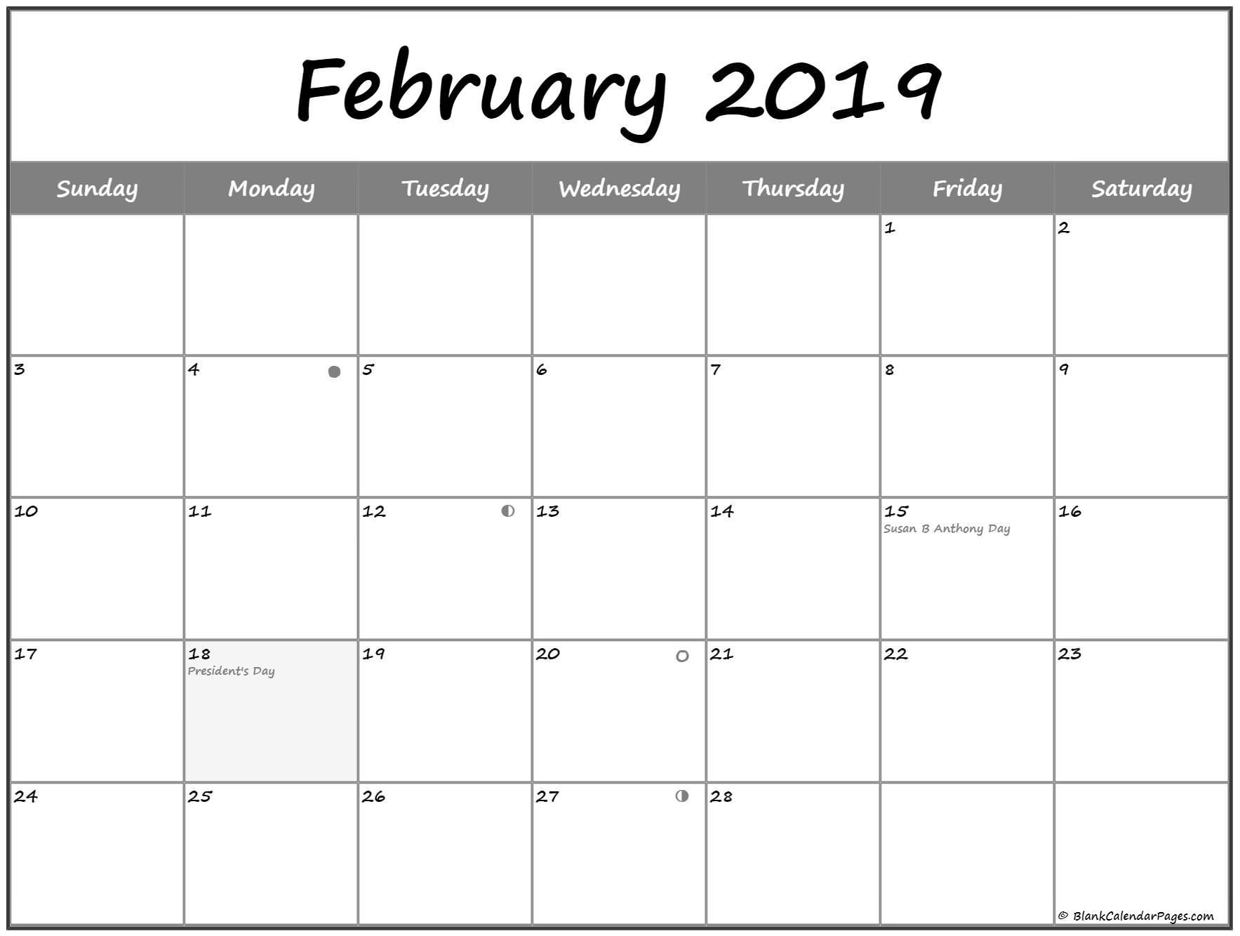 February 2019 Lunar Calendar