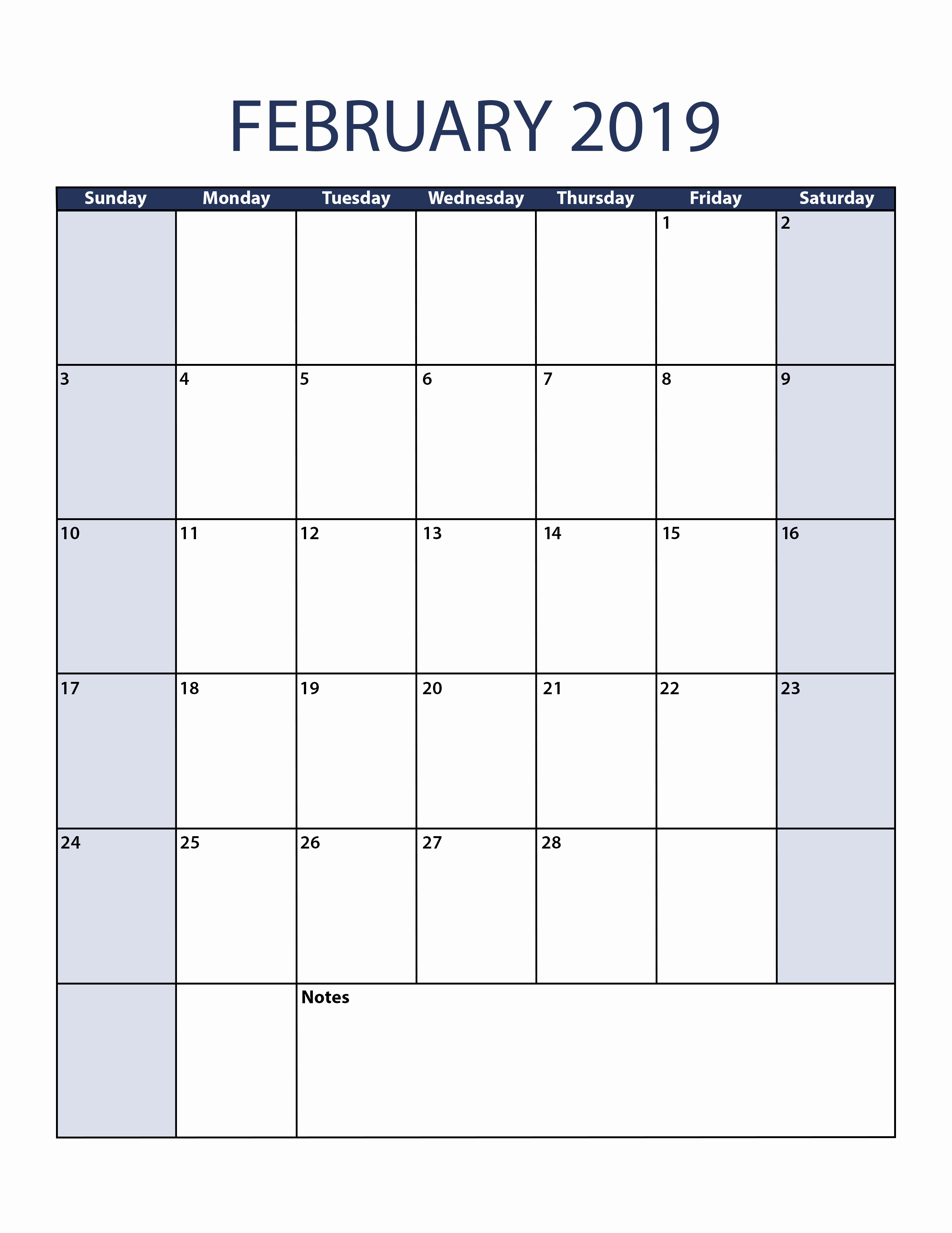 February 2019 Portrait Printable Calendar - Free January 2019