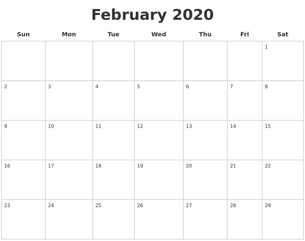 February 2020 Blank Calendar Pages