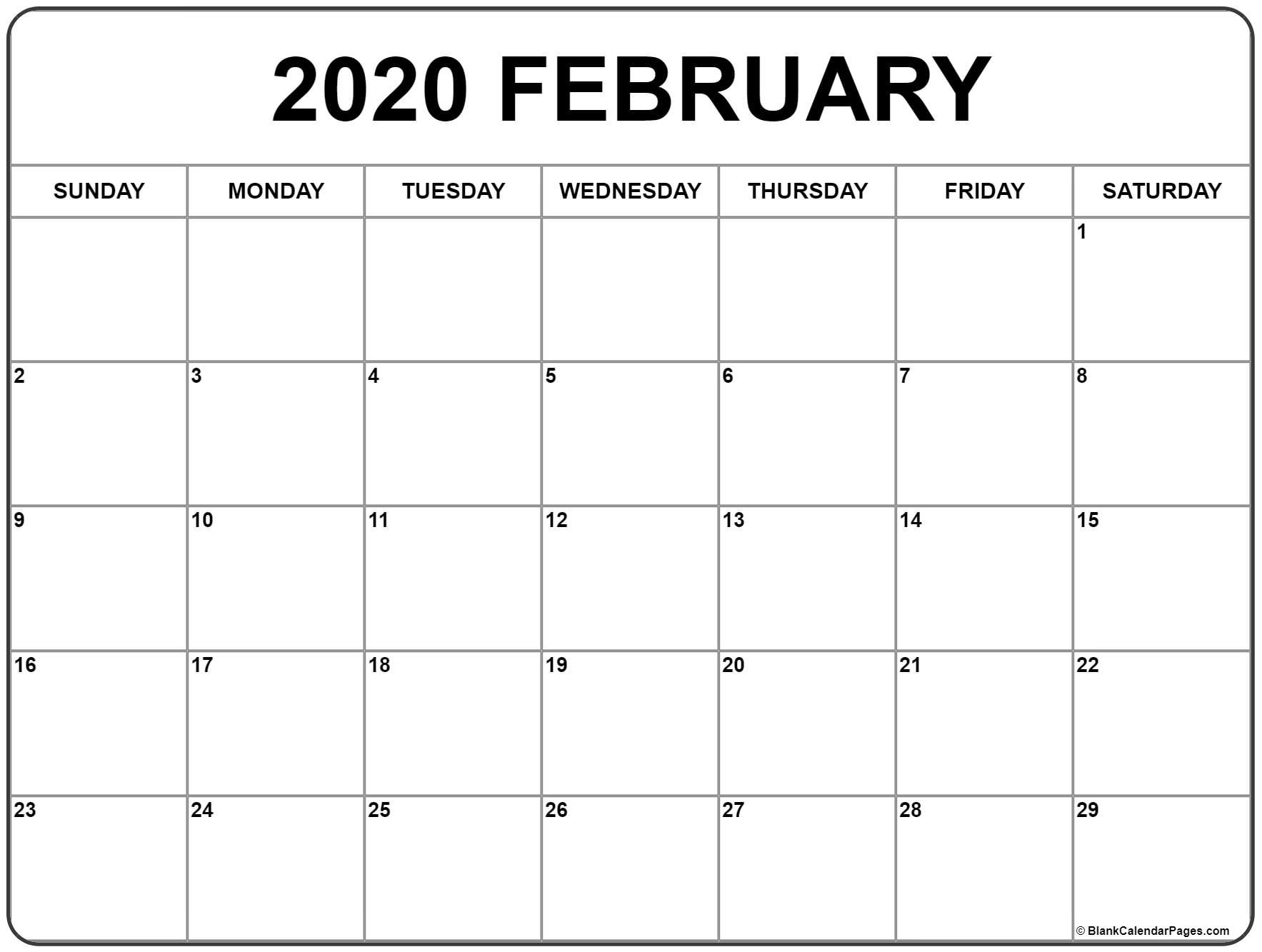 February 2020 Calendar B18 Feb 2020 Calendar - Calendar