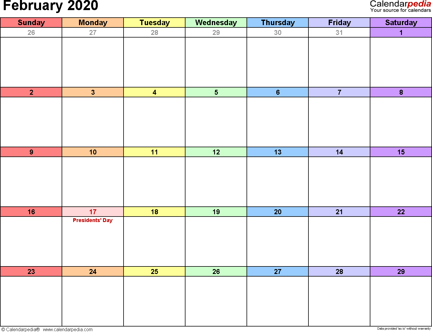 February 2020 Calendars For Word, Excel & Pdf