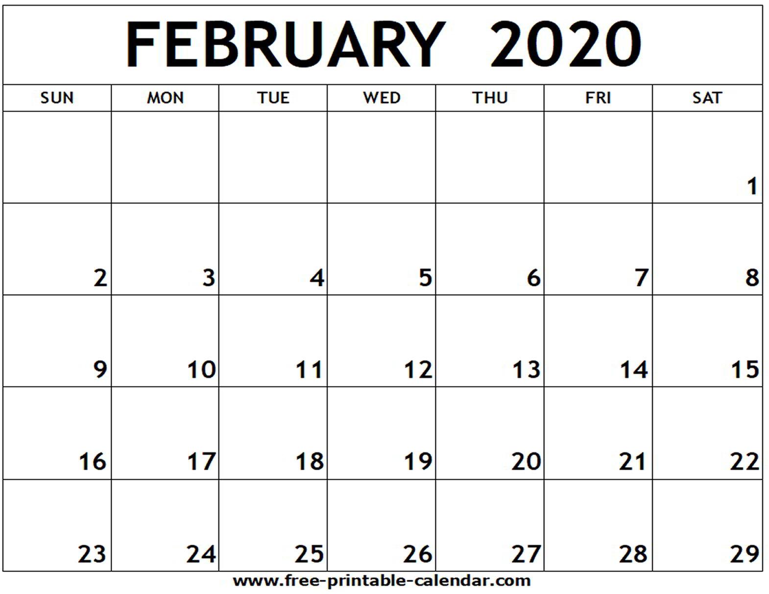 February 2020 Printable Calendar - Free-Printable-Calendar