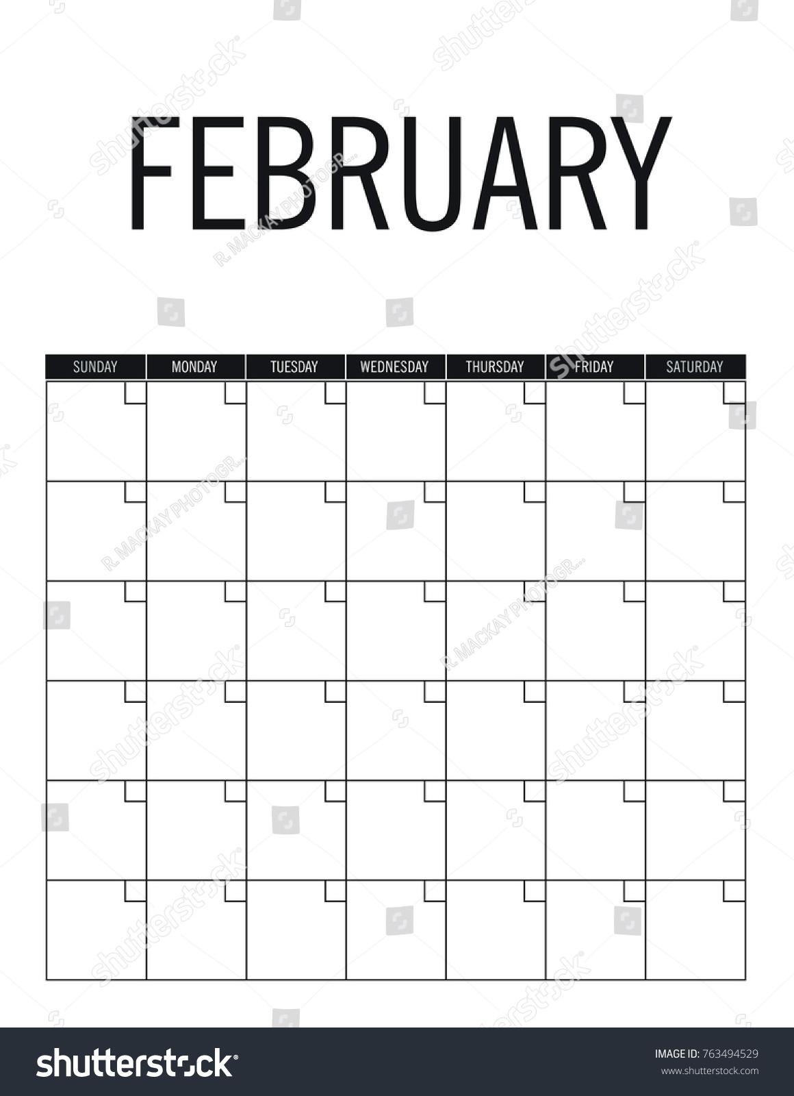 February Blank Calendar Page No Dates Stock Vector (Royalty Free
