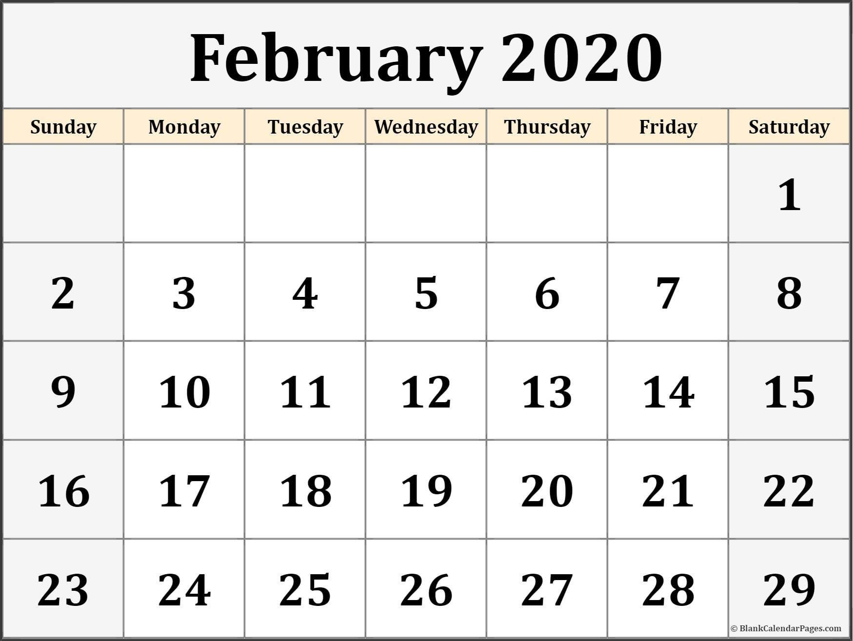 February Calendar 2019 Template #february #februarycalendar
