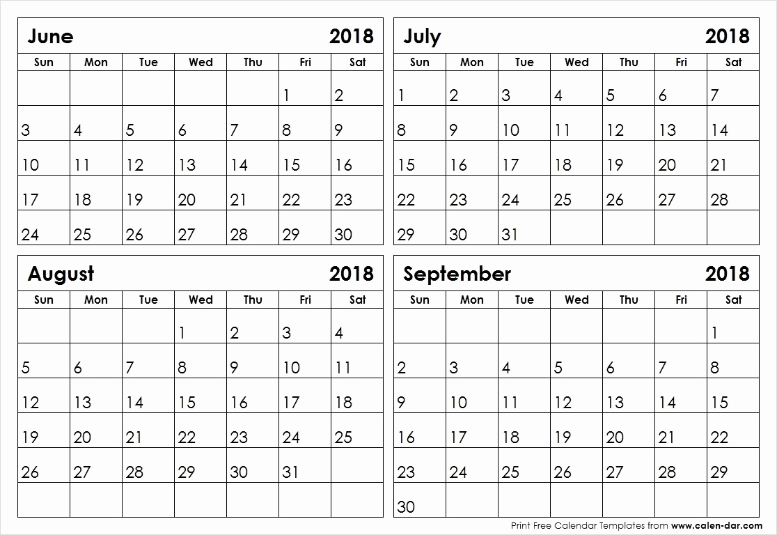Fine 4 Page Printable Calendar : Mini Calendar Template