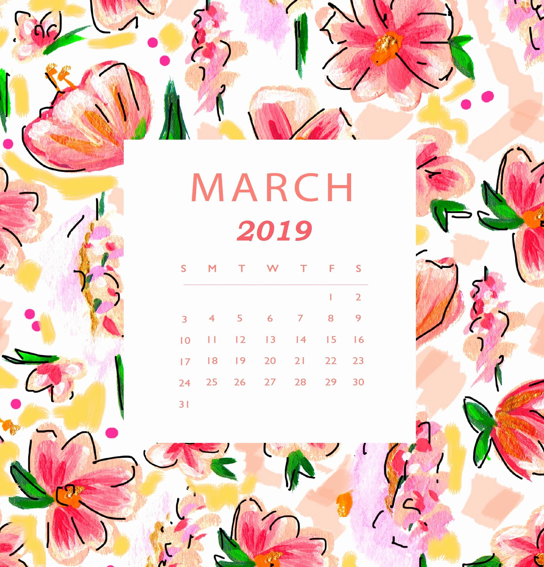 Floral March 2019 Iphone Calendar Wallpaper - Free August 2019