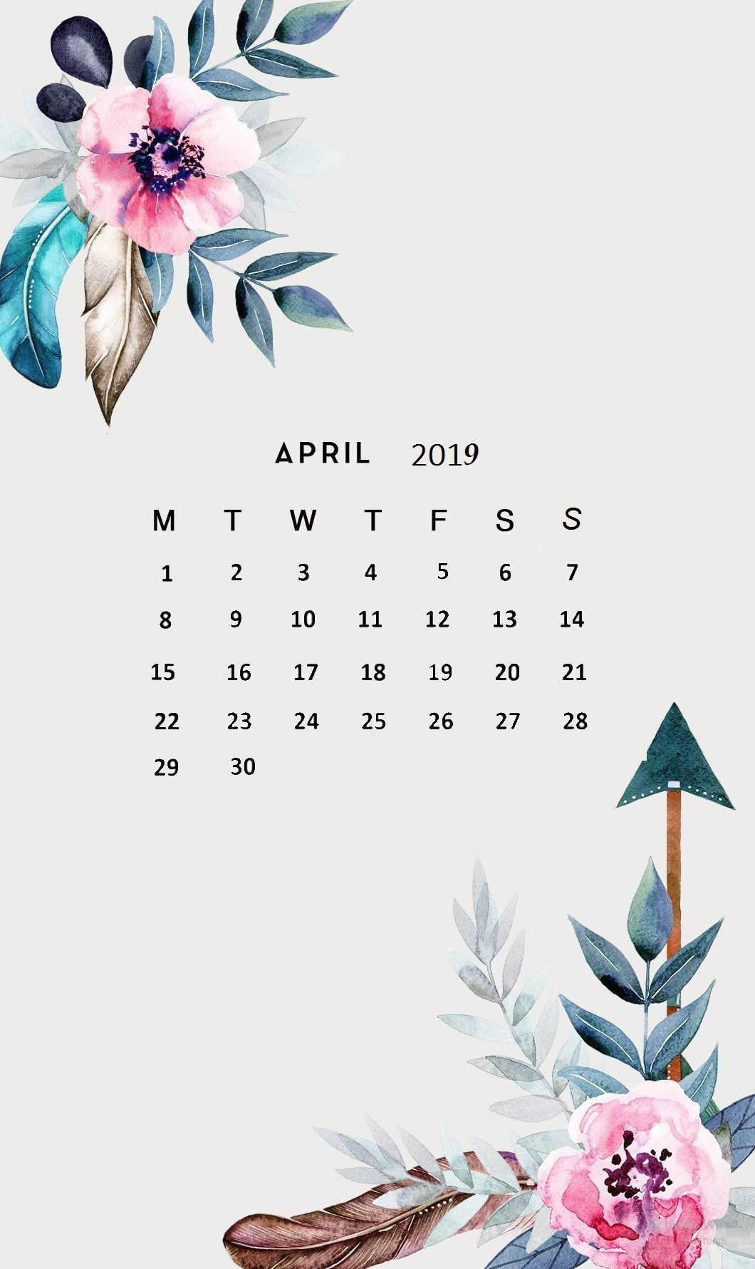 Flower April 2019 Iphone Calendar Wallpaper - Printable Calendar