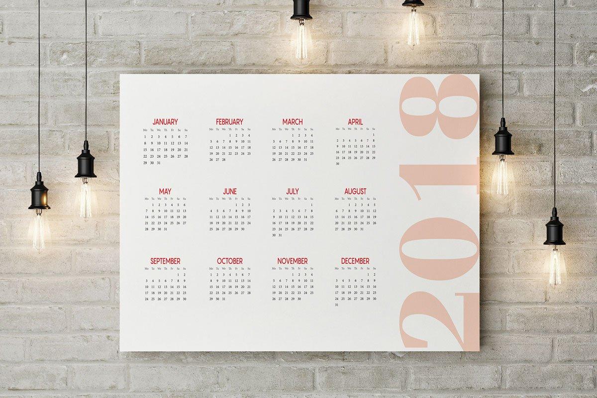 Free 2018 Printable Wall Calendar Template - Creativetacos