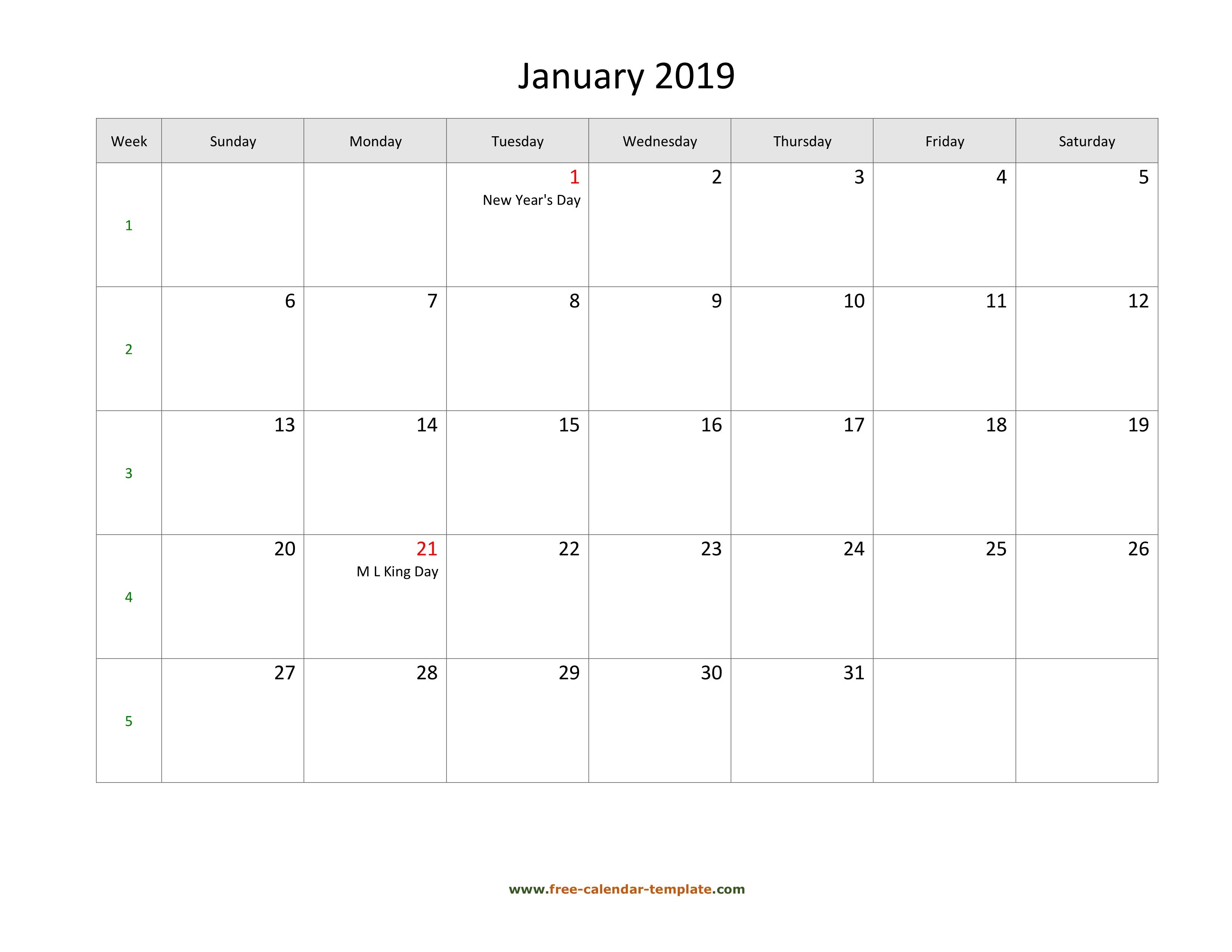 Free 2019 Calendar Blank Monthly Template (Horizontal)