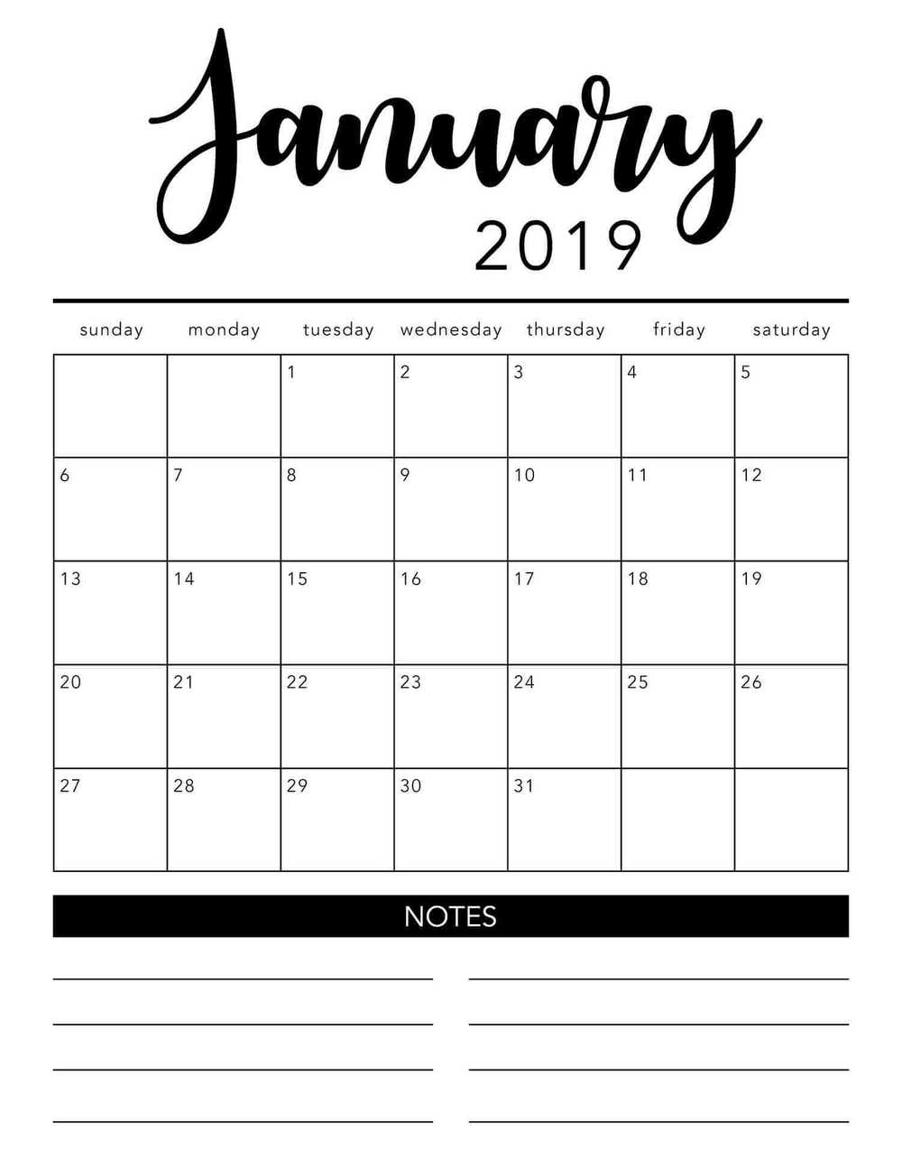 Free 2019 Printable Calendar Template (2 Colors!) - I Heart Naptime