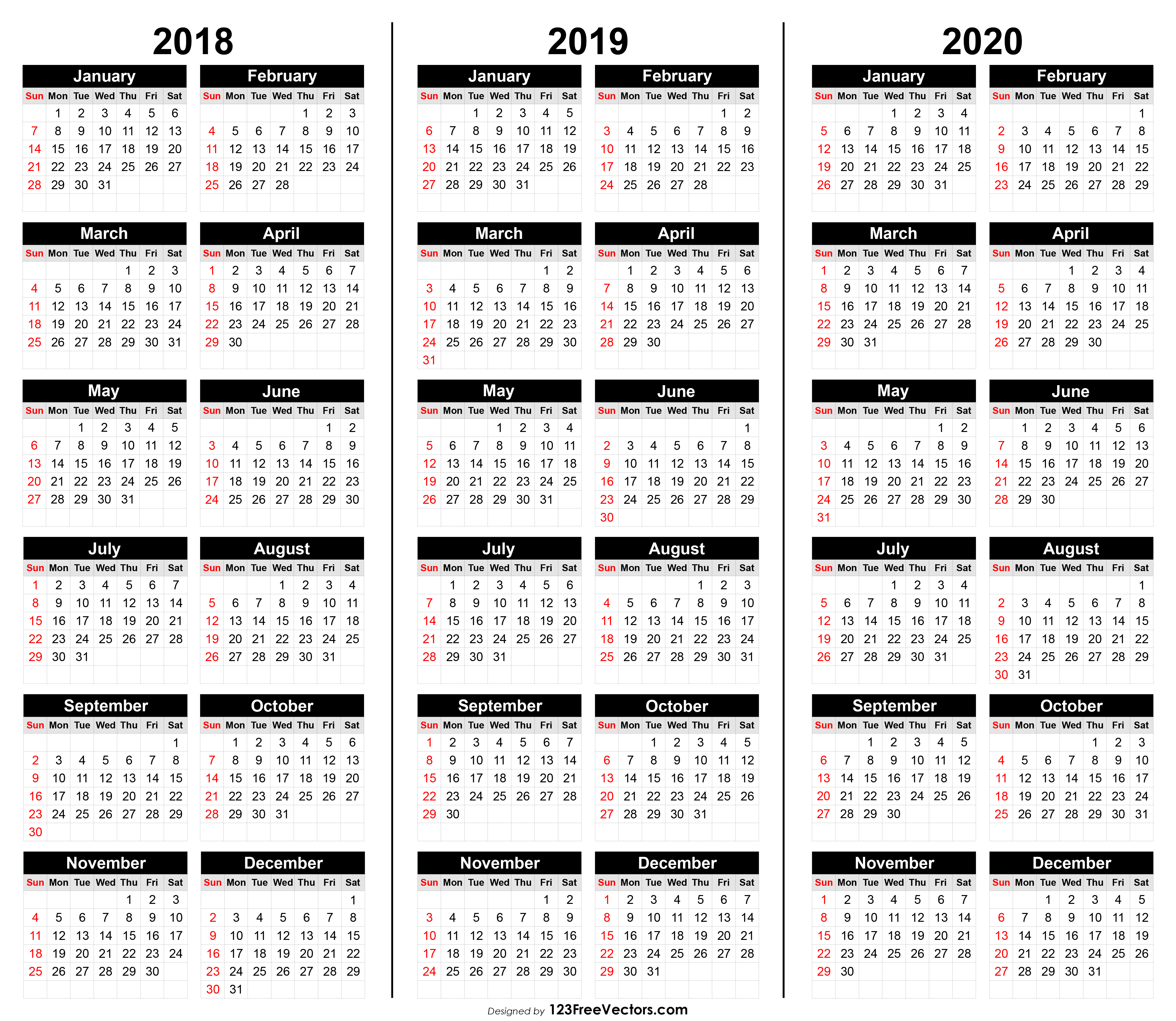 Free 3 Year Calendar 2018 2019 2020