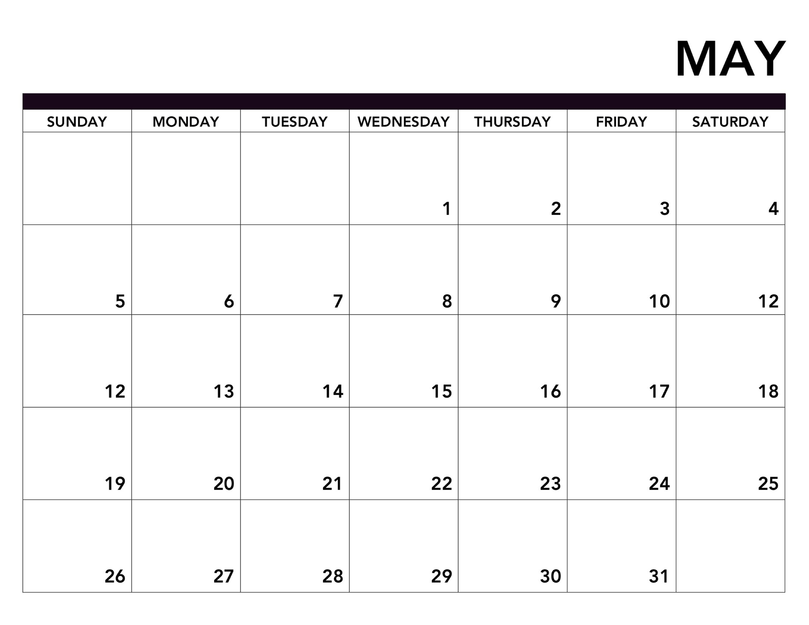 Free August Printable Calendar