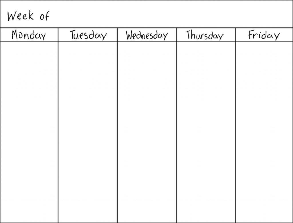 Free Blank 5 Day Calendar