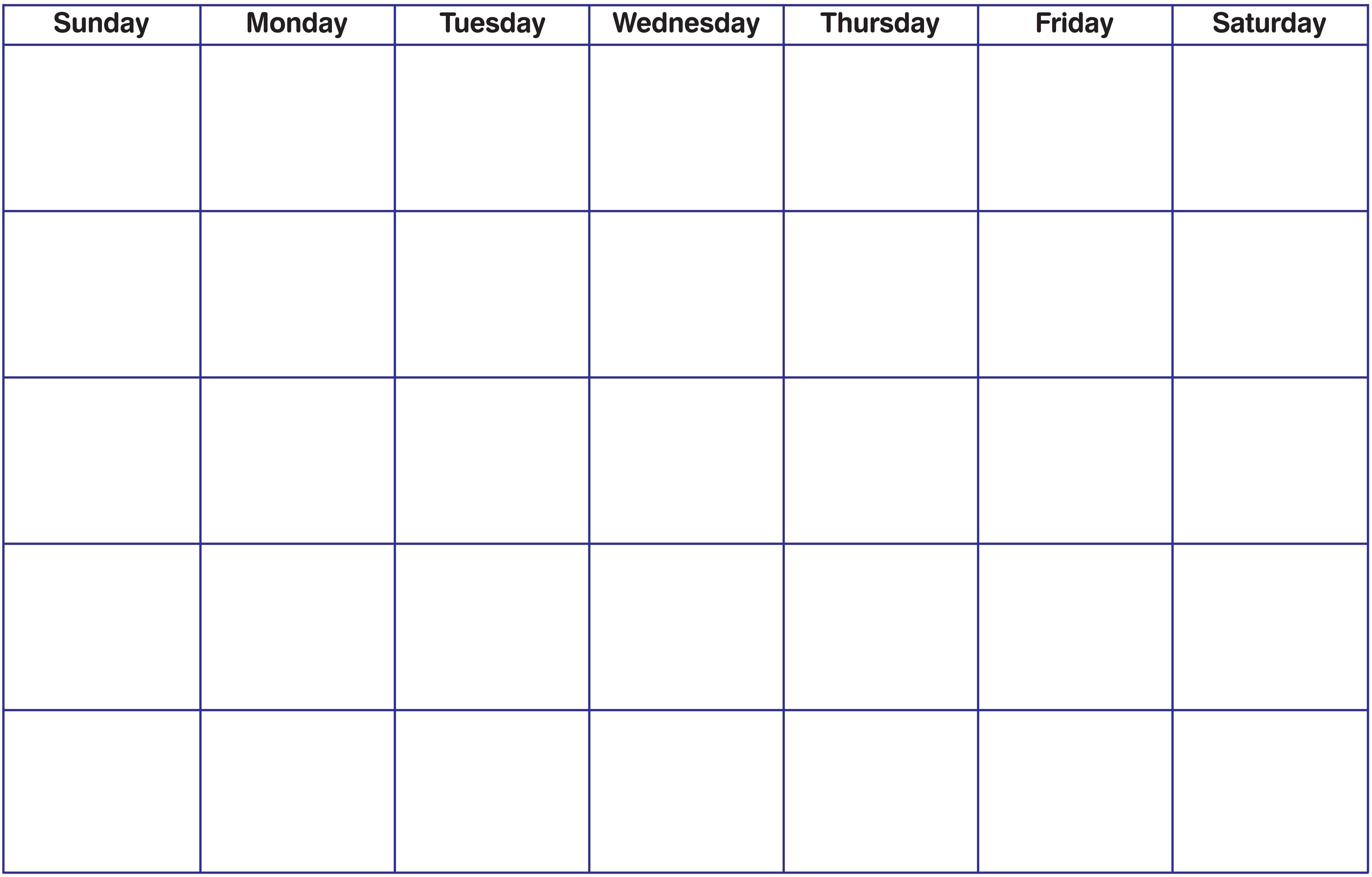 Free Blank Calendar Grid