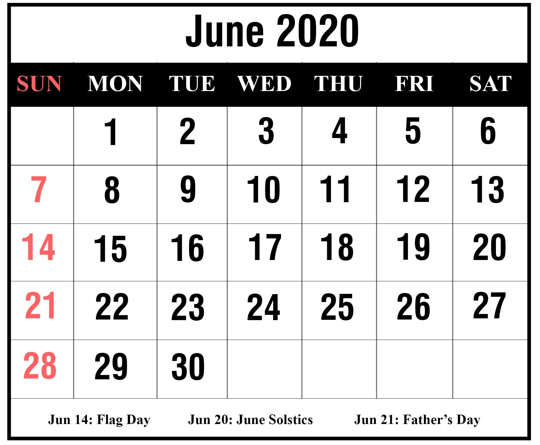 [%Free Blank June 2020 Printable Calendar [Pdf, Excel & Word 2020 Calendar For June 2020 Calendar For June%]
