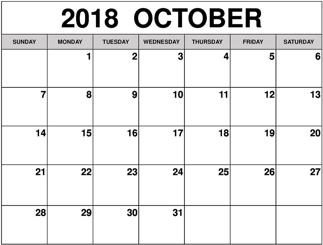 Free Blank October 2018 Calendar