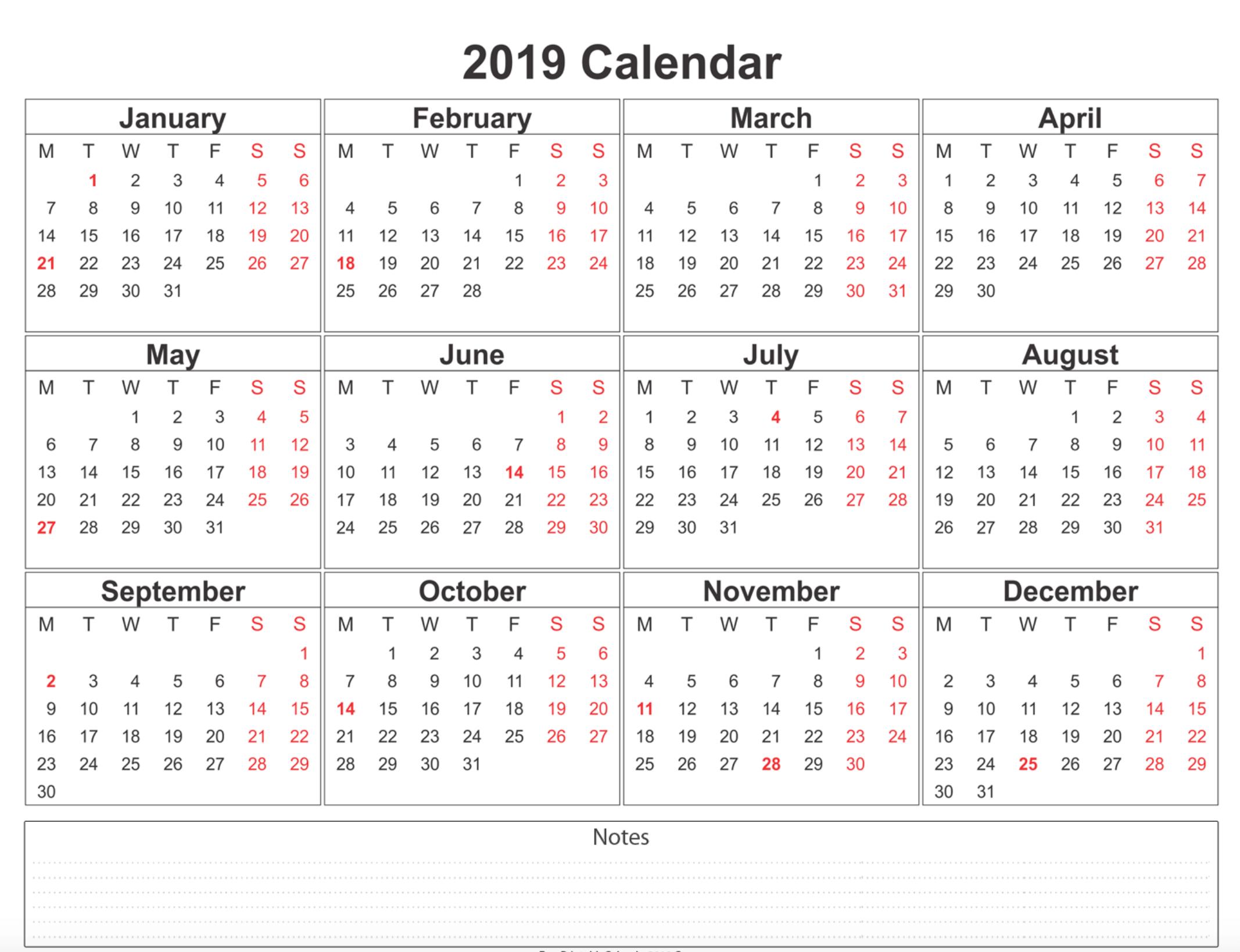 Free Blank Printable Calendar 2019 With Holidays Template Word