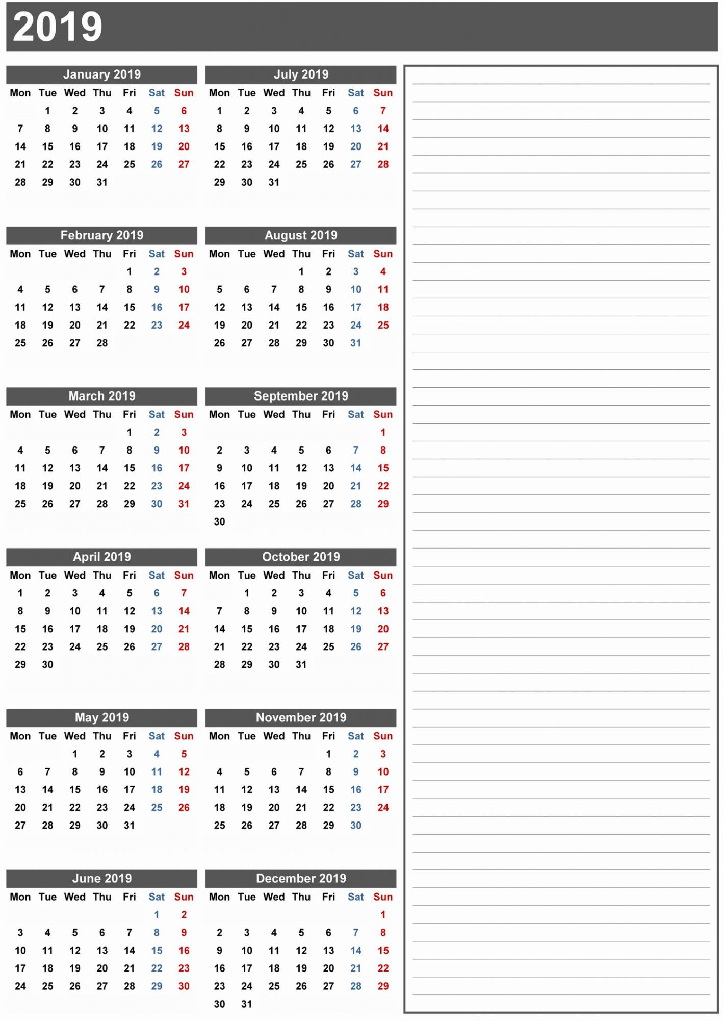 Free Blank Printable Calendar 2019 With Holidays Template Word