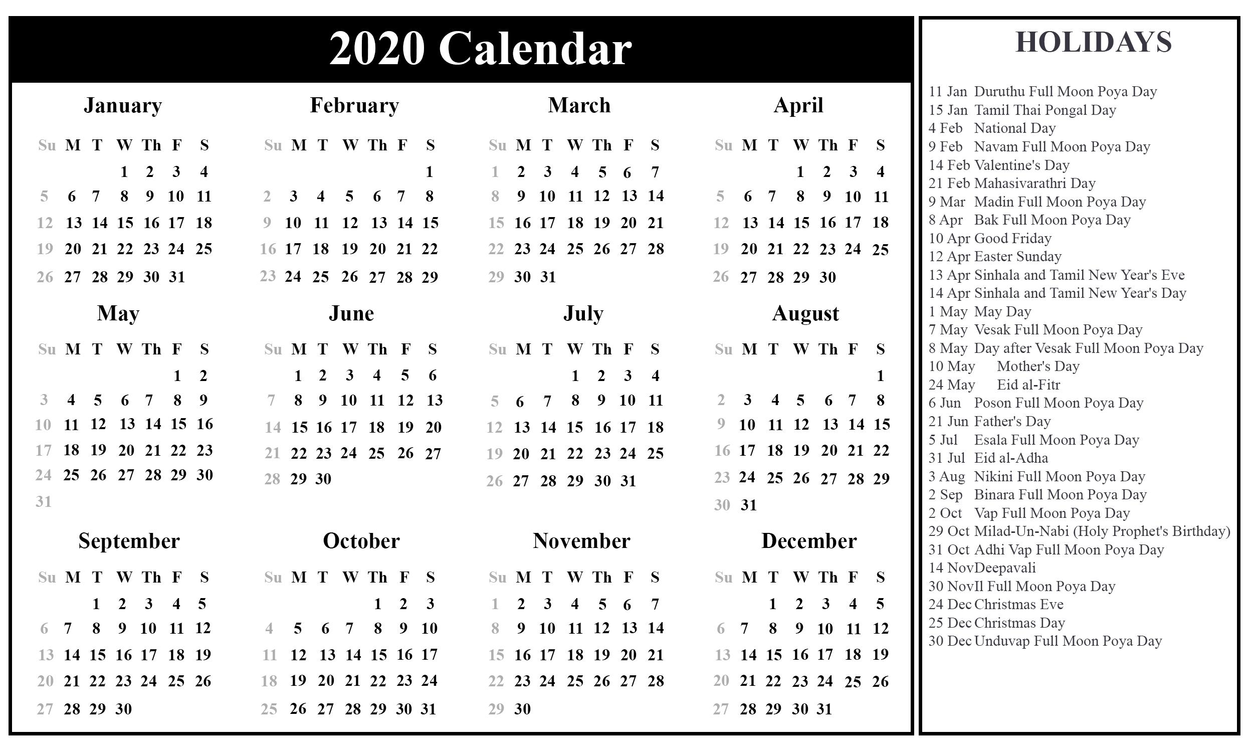 Free Blank Sri Lanka Calendar 2020 In Pdf, Excel & Word Format