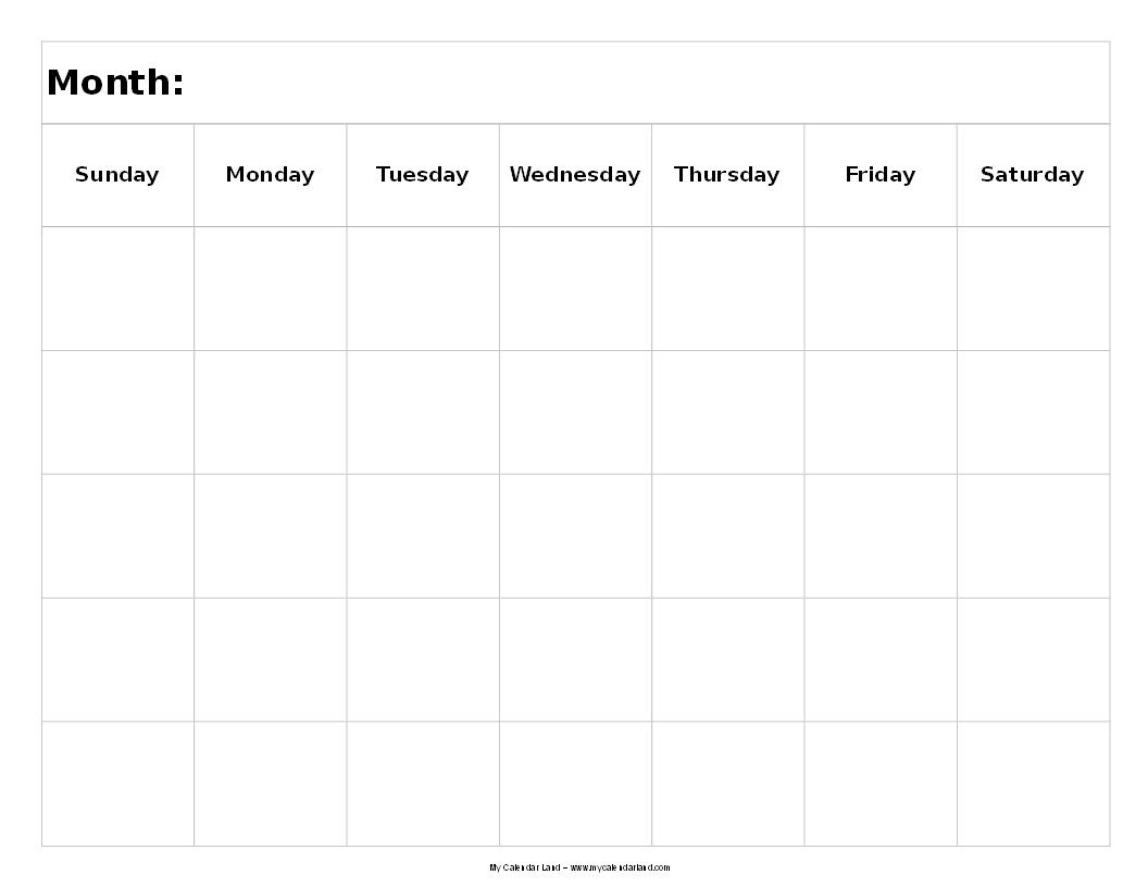 Free Day Blank Calendar Printable Template Week