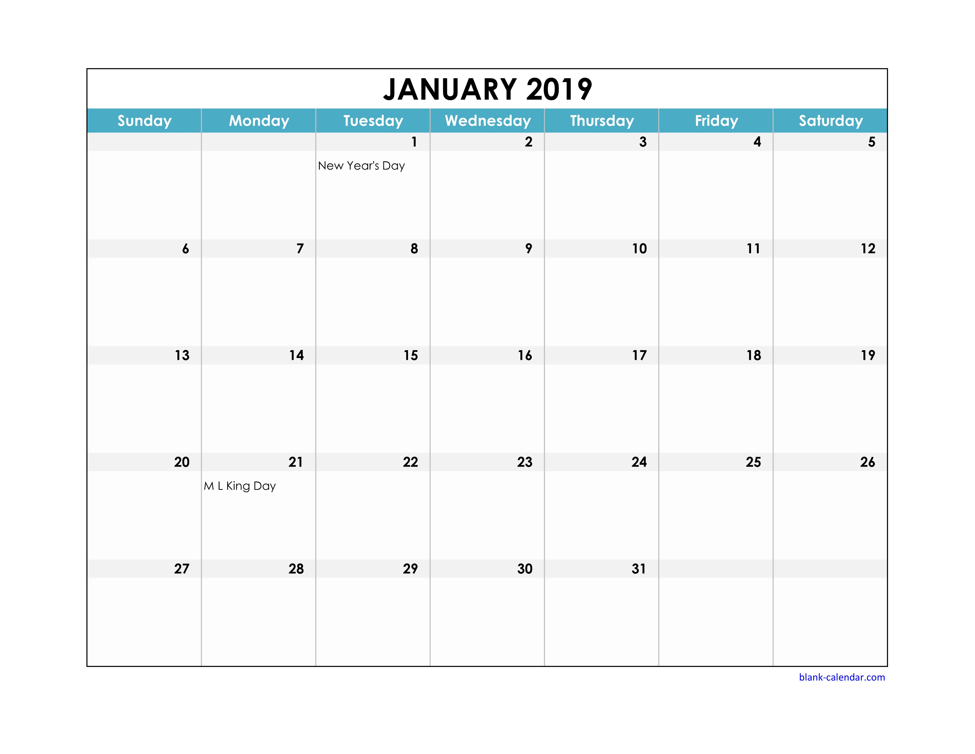 Free Download 2019 Excel Calendar Large Boxes In The Grid (Horizontal)