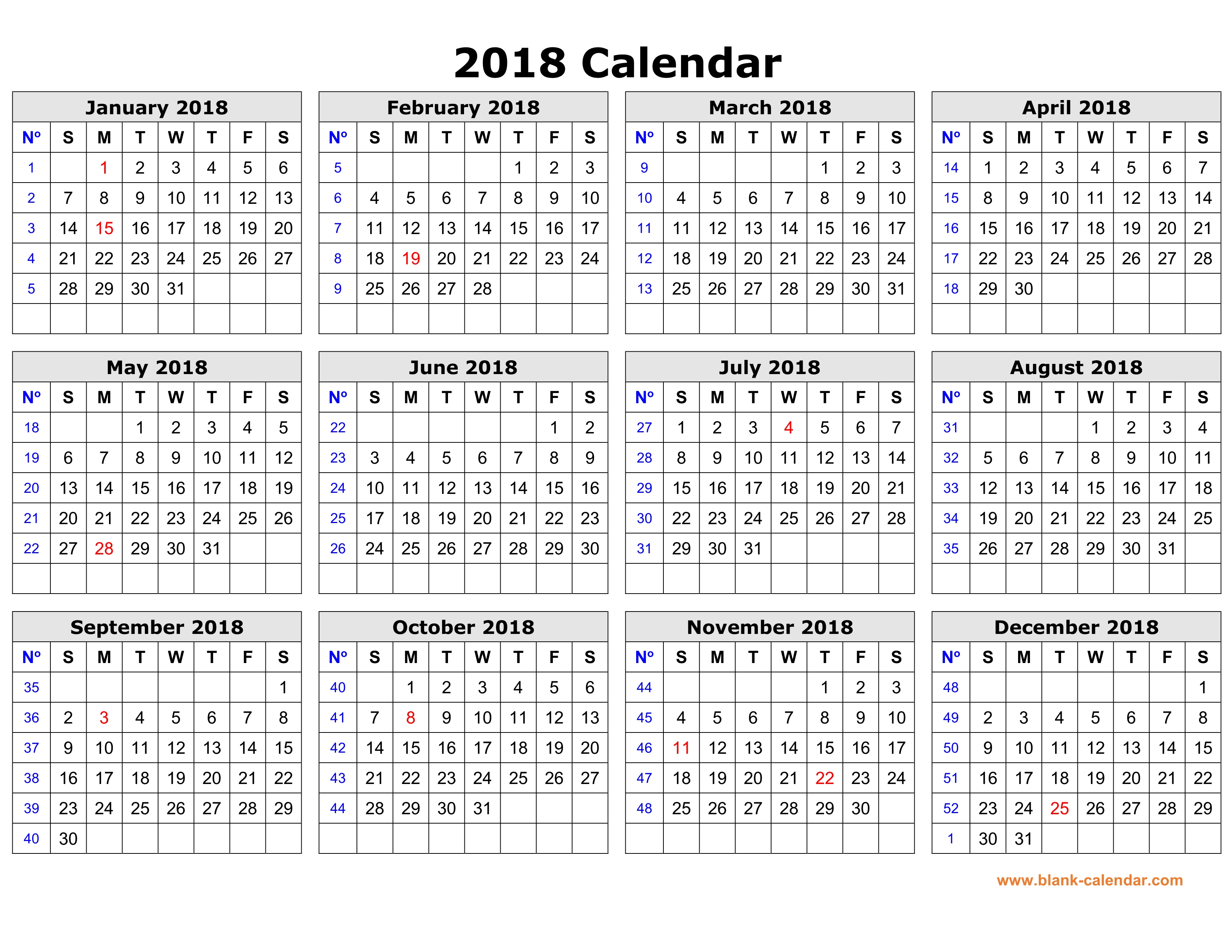 Free Download Printable Calendar 2018 In One Page, Clean Design.