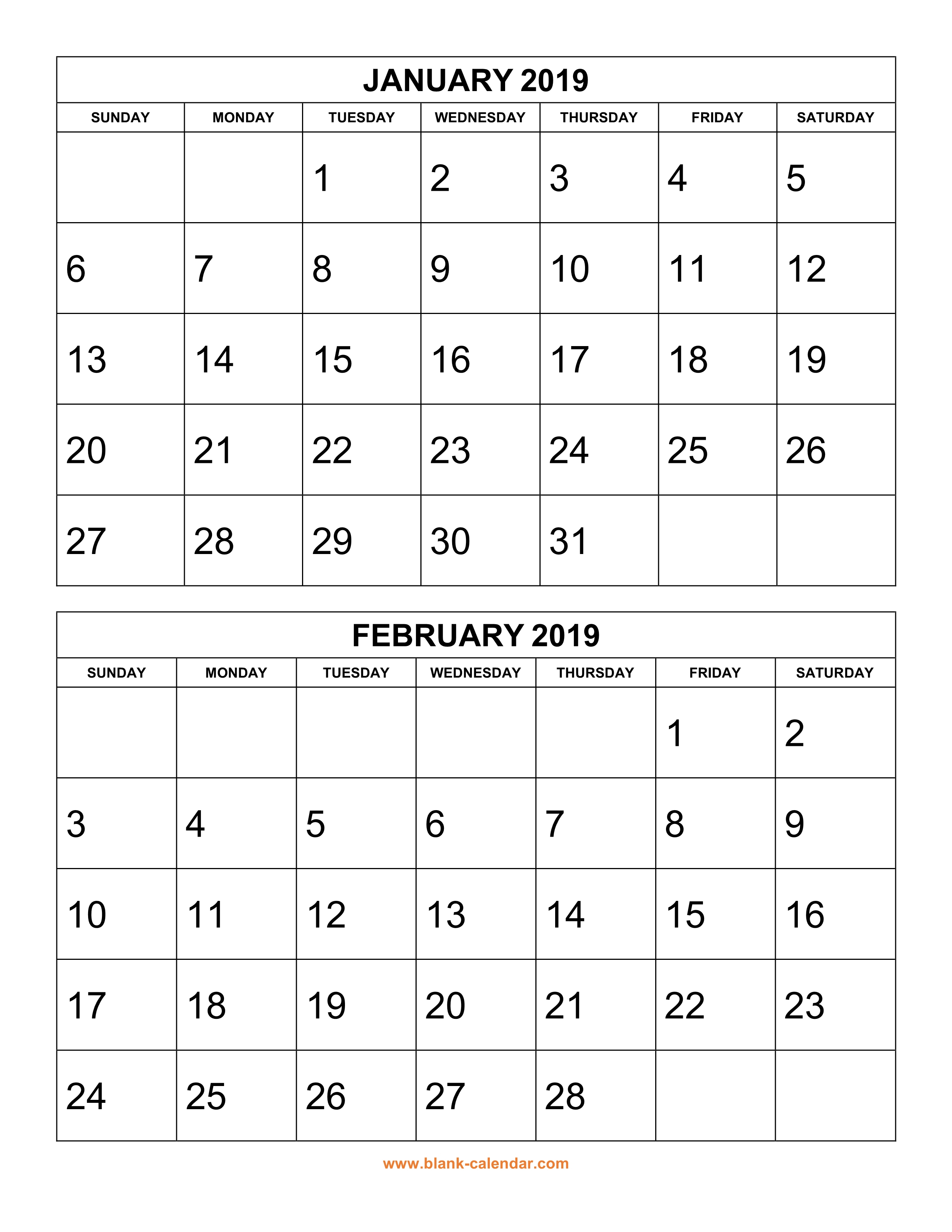 Free Download Printable Calendar 2019, 2 Months Per Page, 6 Pages